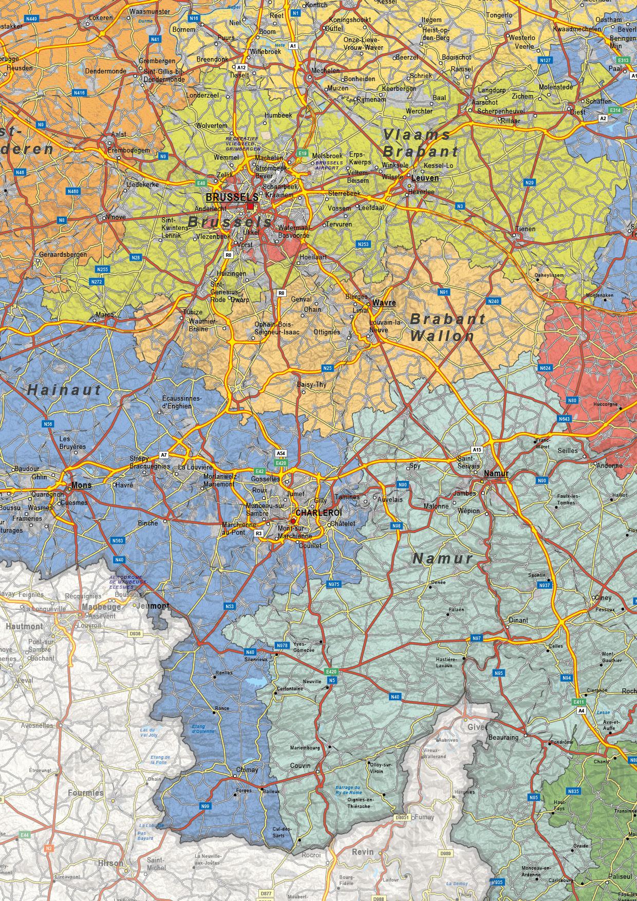 Digital Political map Belgium