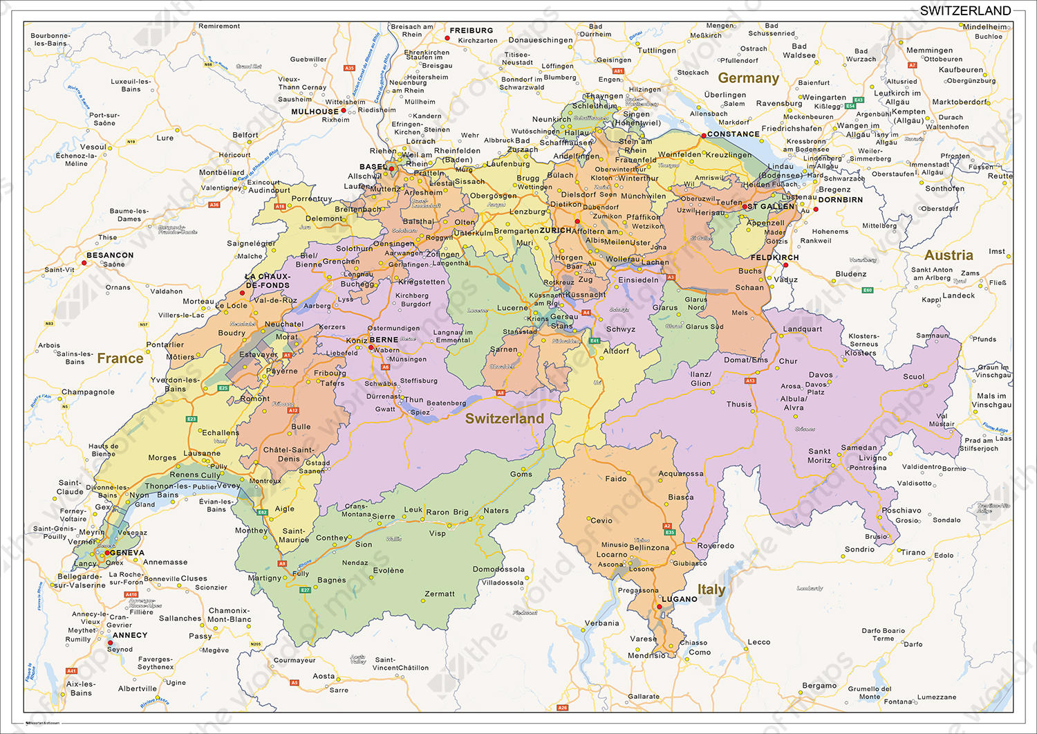 Digital political map of Switzerland 1474 The World of Mapscom