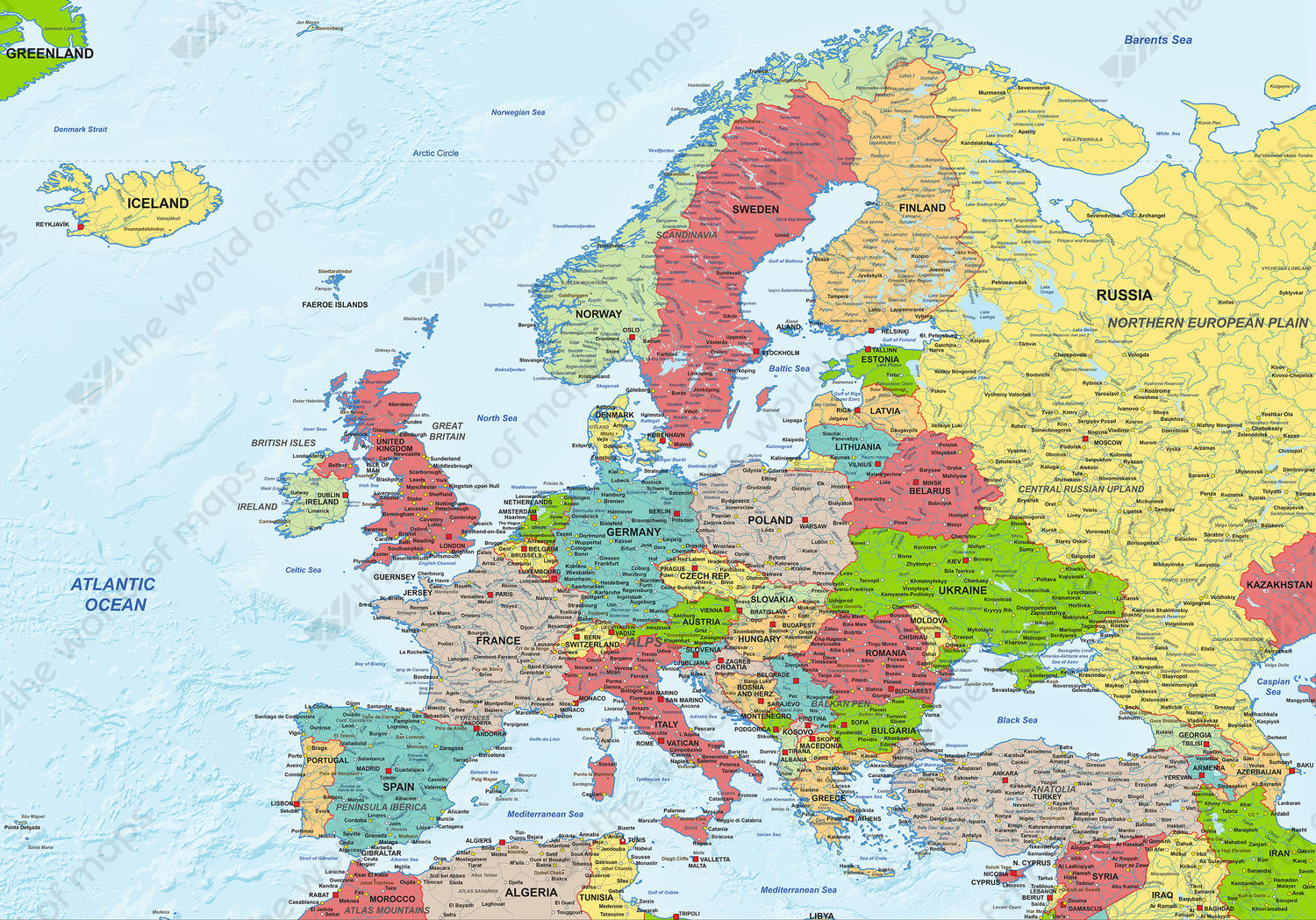 Image of: Digital Map Europe Political 1281 The World Of Maps Com