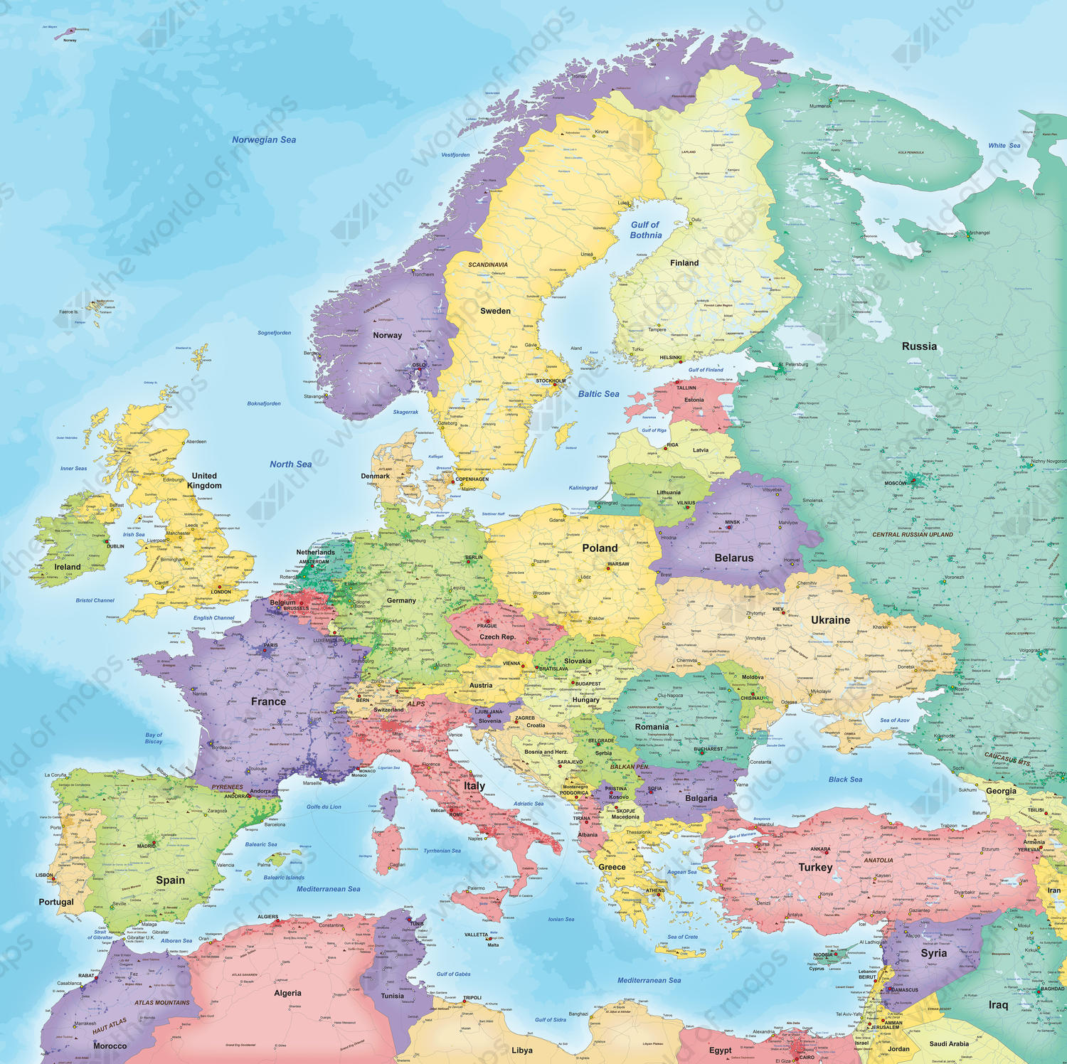 Digital Map of Europe Political 834 | The World of Maps.com