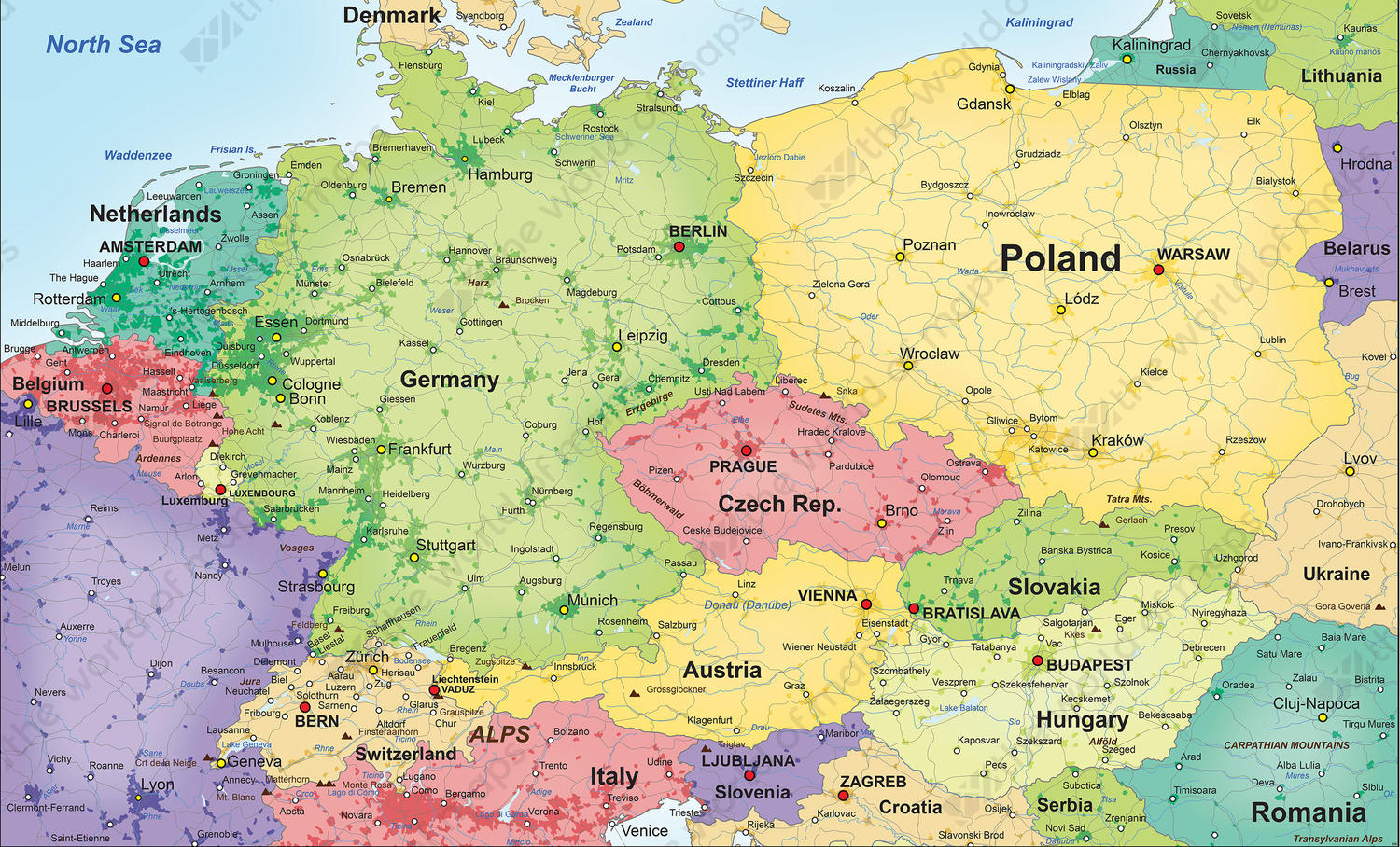 Political Vector Map Central Europe 835 The World of Mapscom