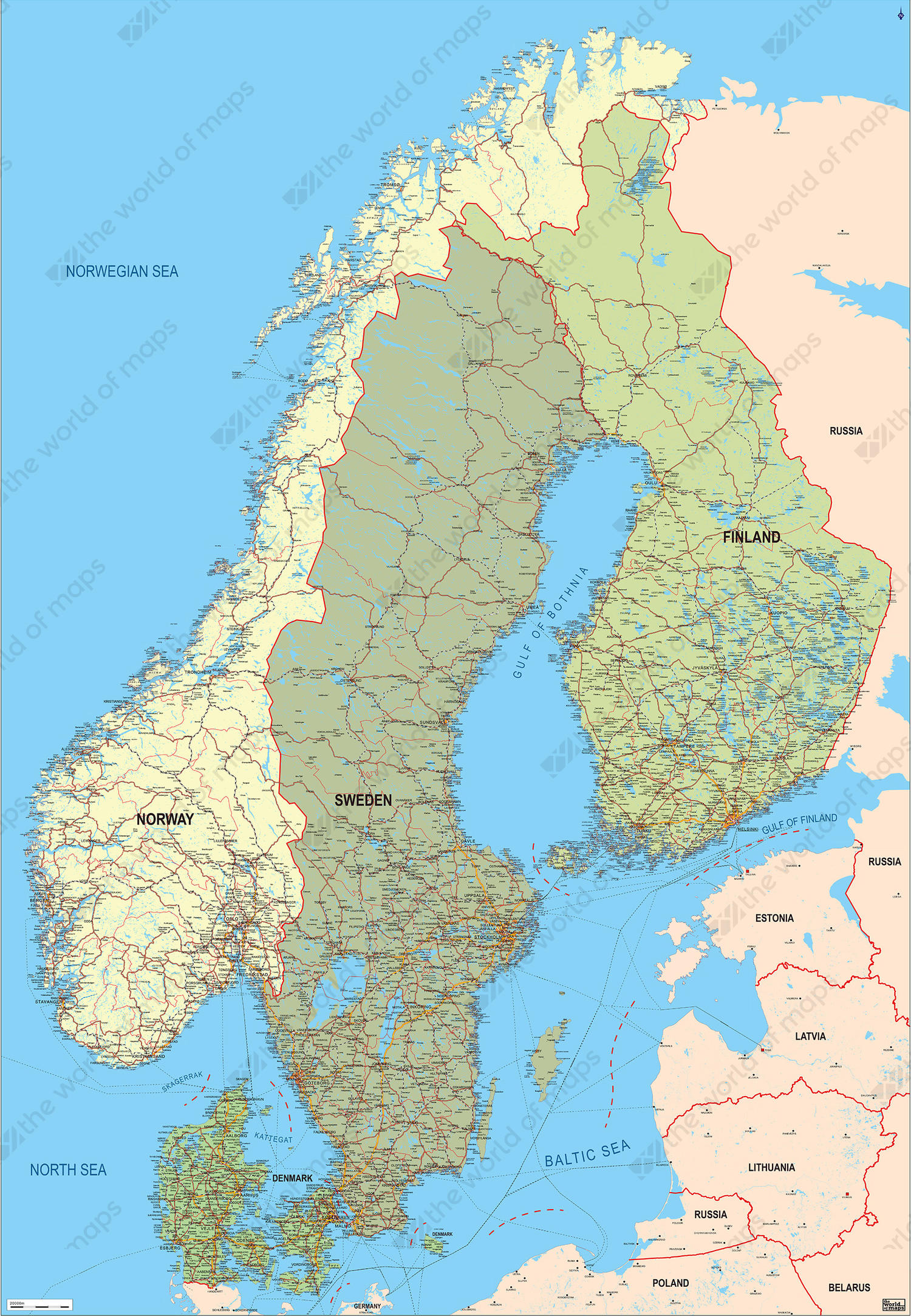 Digital Map Scandinavia Political 120 | The World of Maps.com