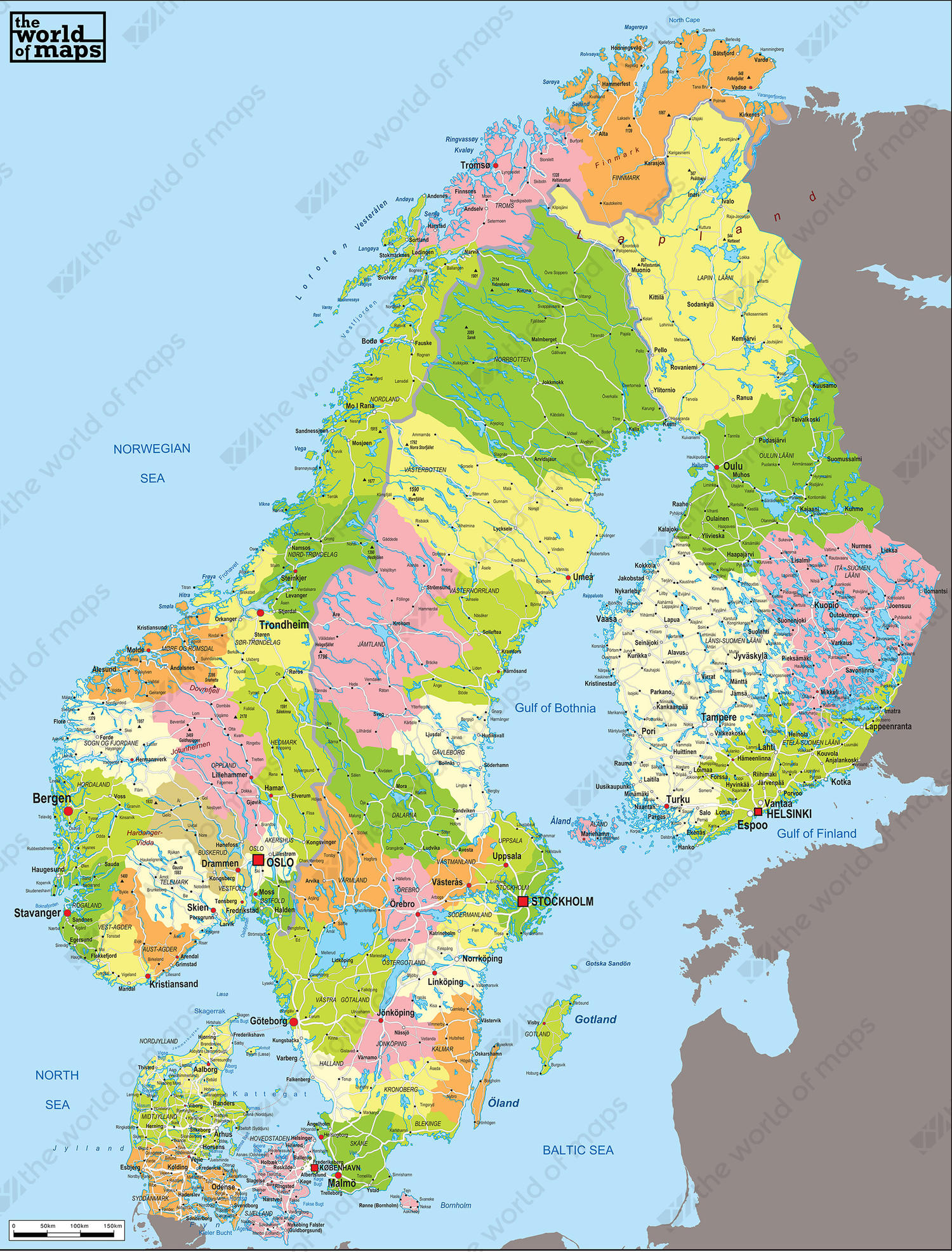 Digital Political Map Scandinavia 53 | The World of Maps.com