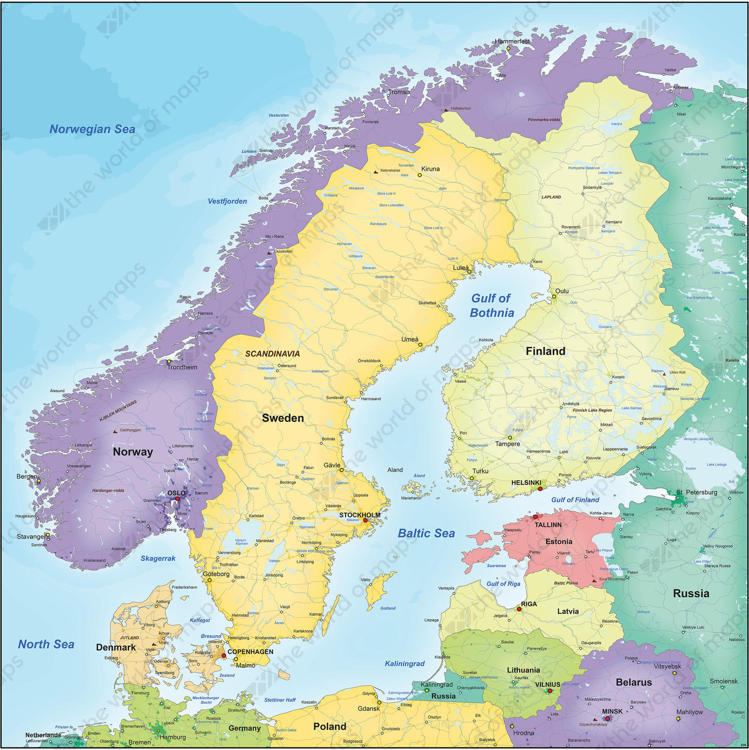 Digital Political Map Scandinavia The World Of Mapscom - Map of scandinavia