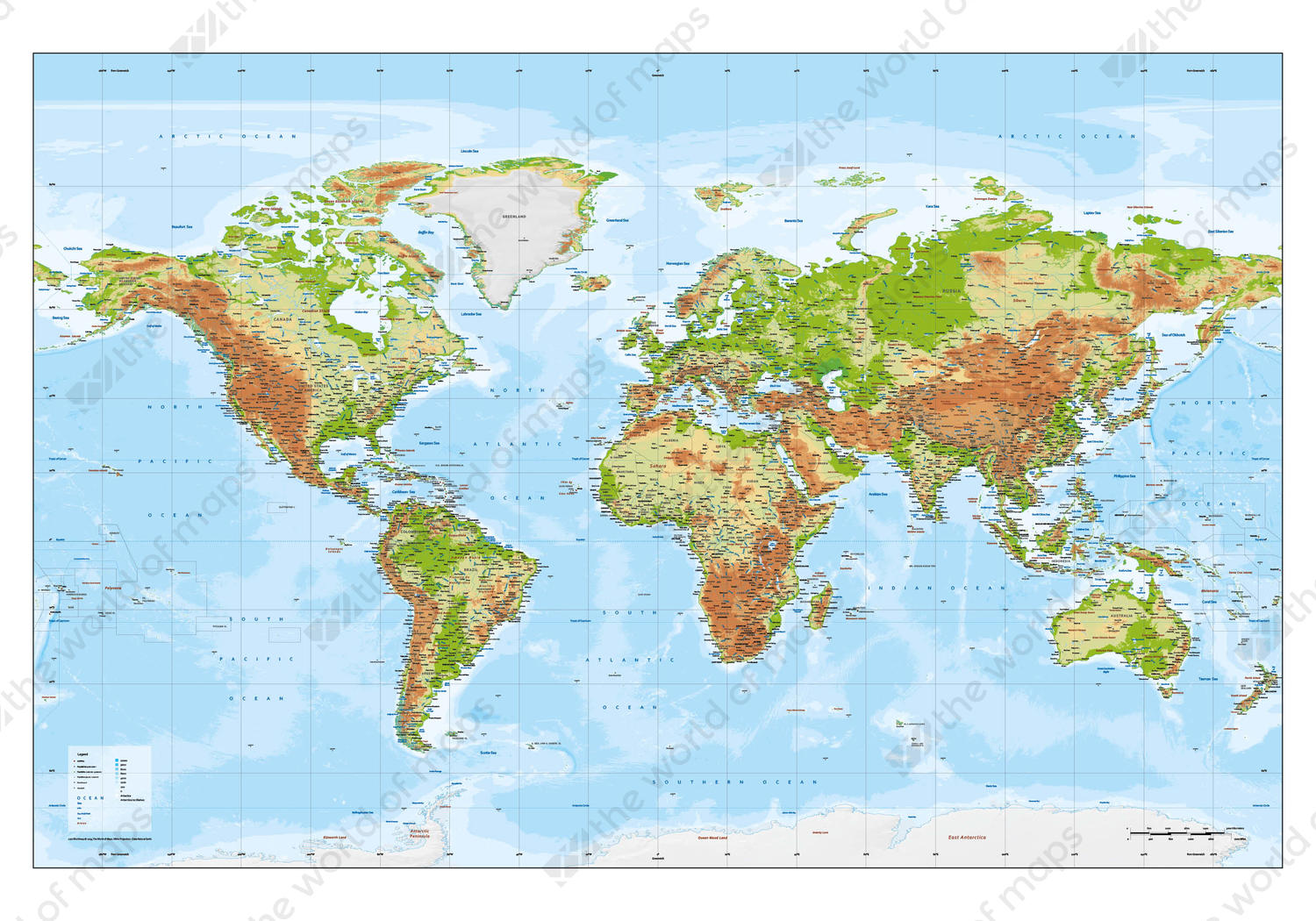 Vector World Map XXL Physical with relief