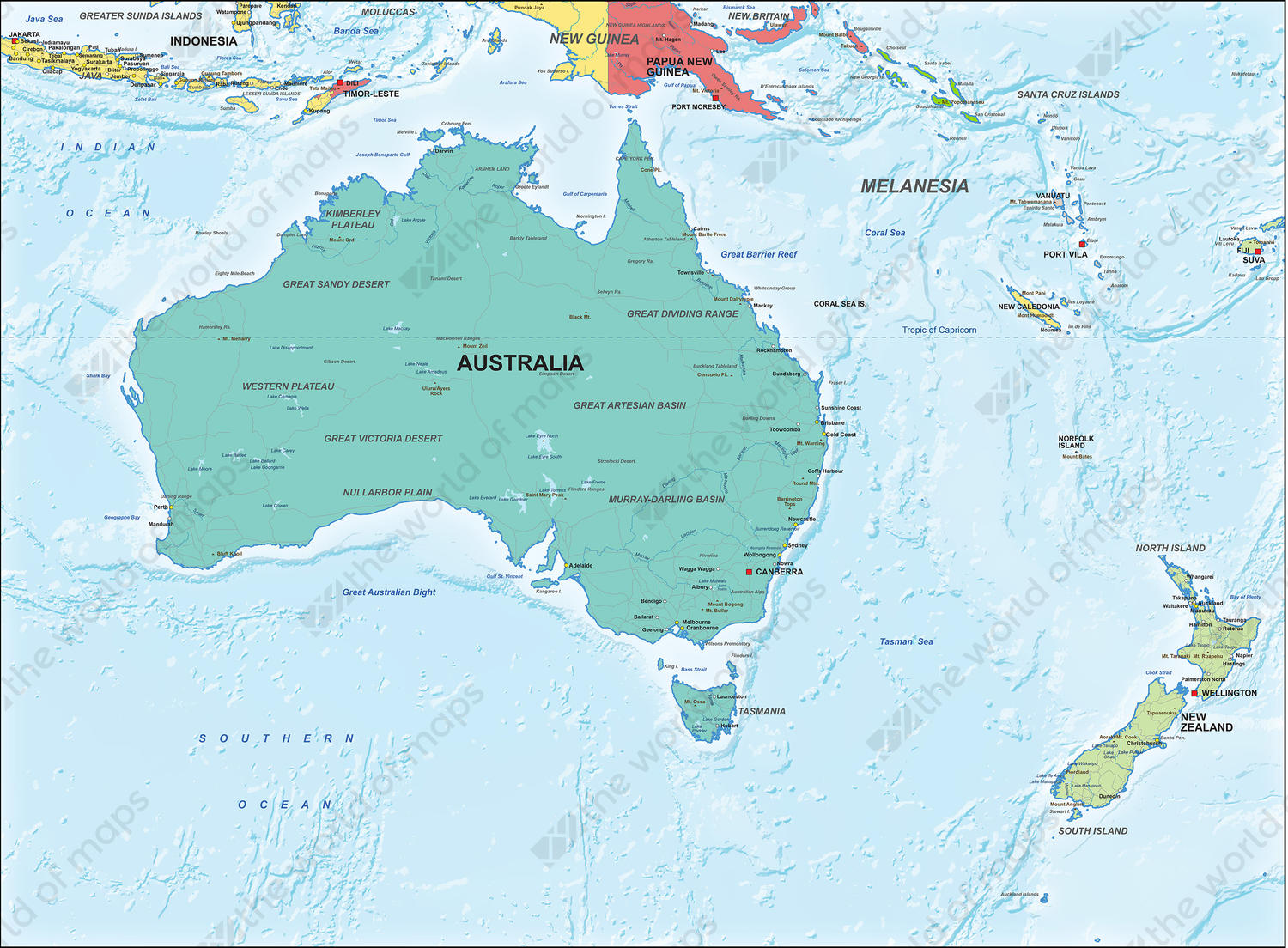 Australia Map Political.Digital Map Political Australia 1306 The World Of Maps Com