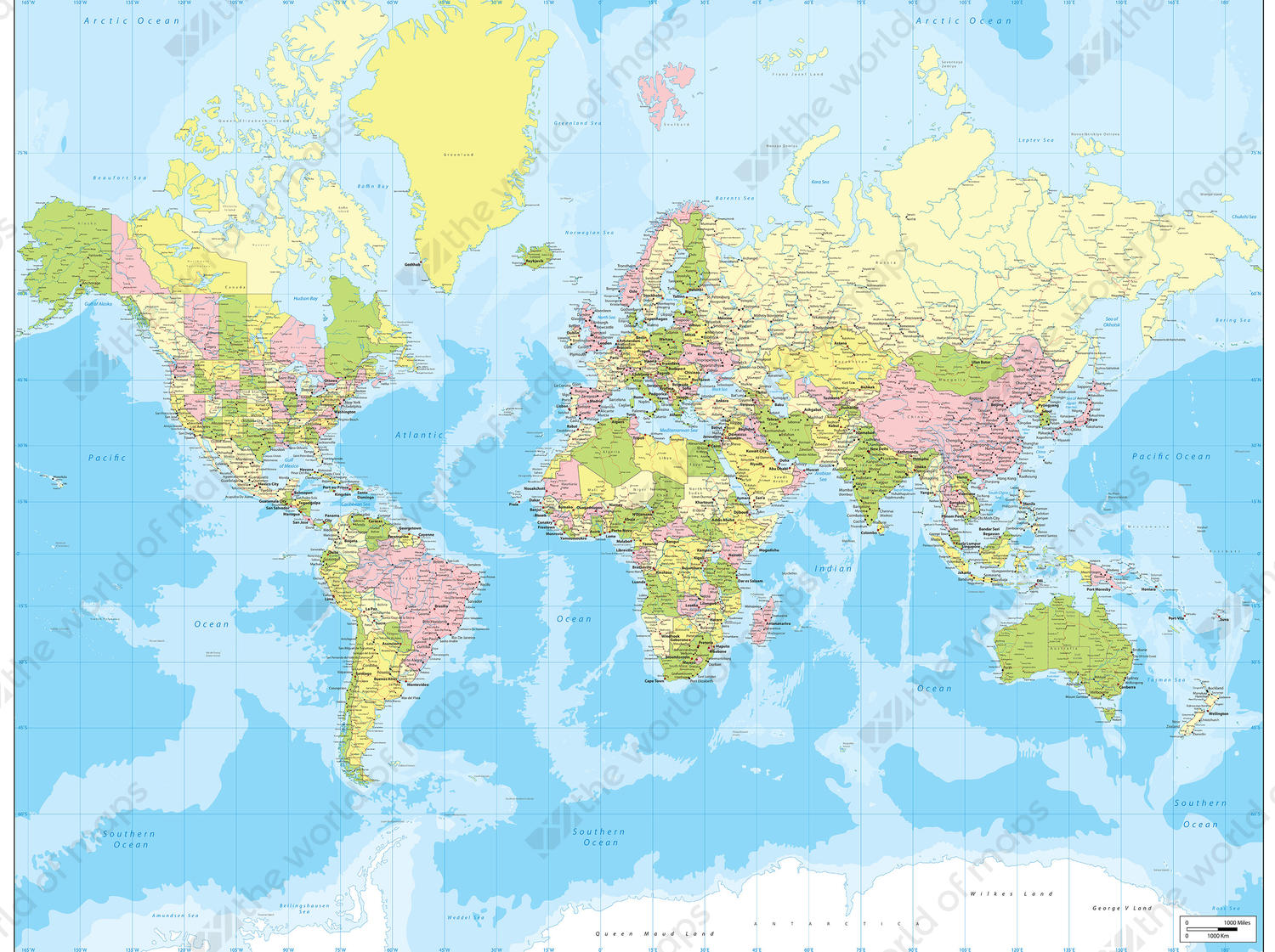 Digital world map political 198 the world of maps digital world map political with bright colors gumiabroncs Choice Image