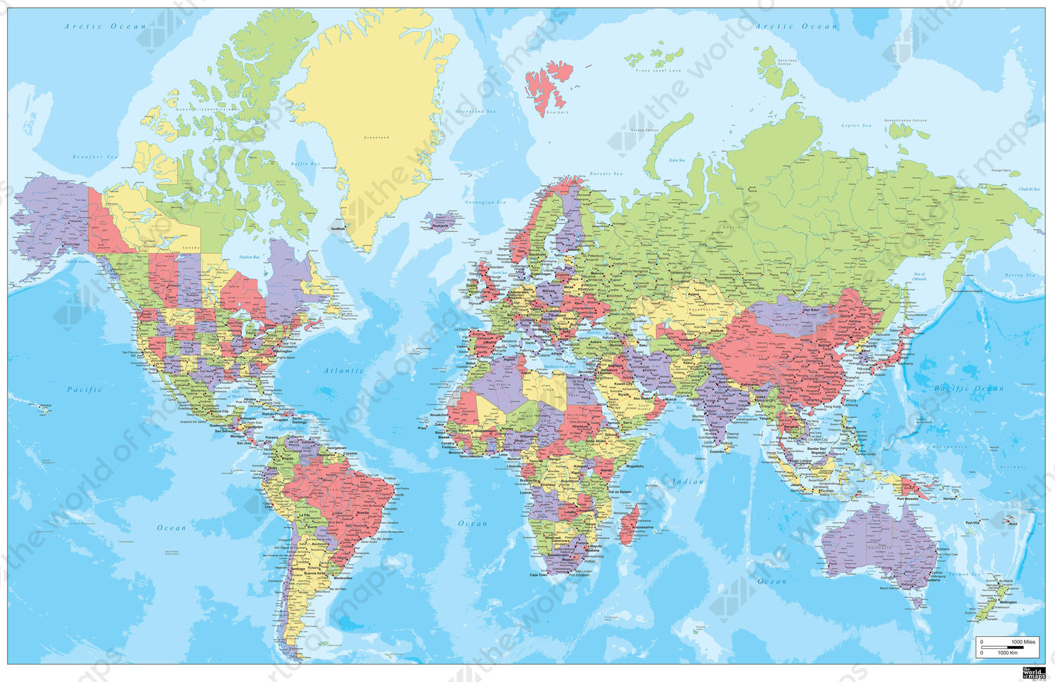 Digital world map in english 318 the world of maps political world map with many cities gumiabroncs Image collections