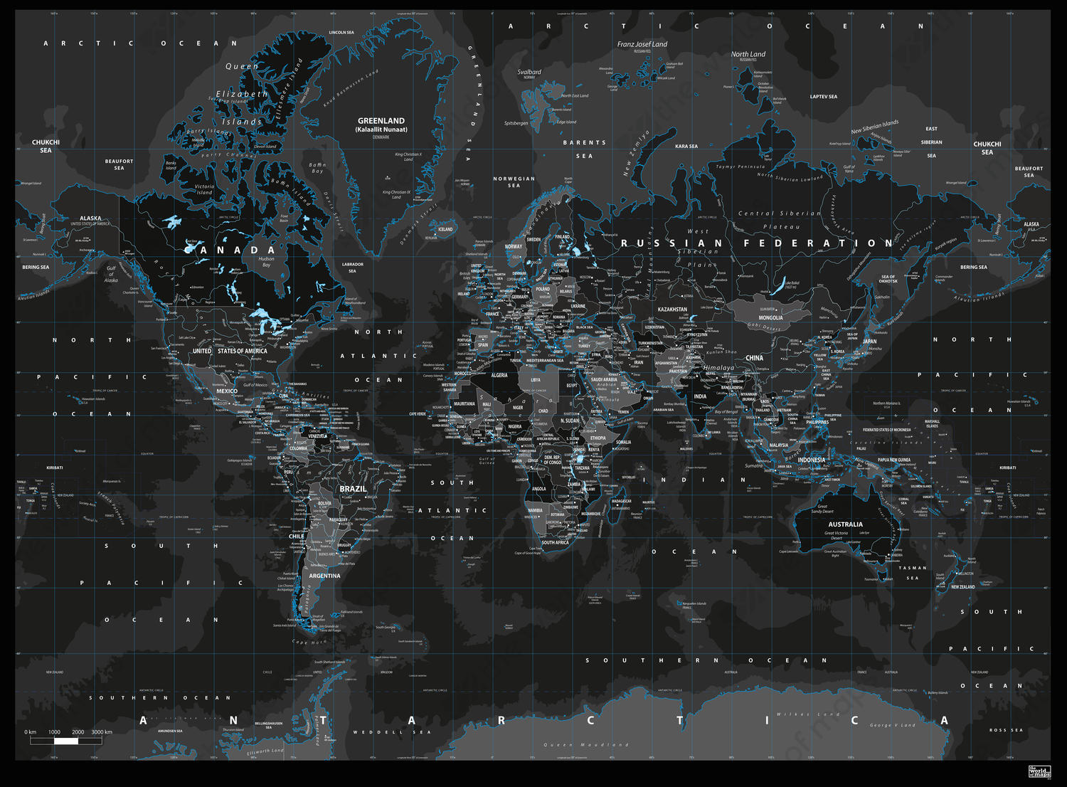 Digital Map Of The World.Digital World Map Black Ice 812 The World Of Maps Com