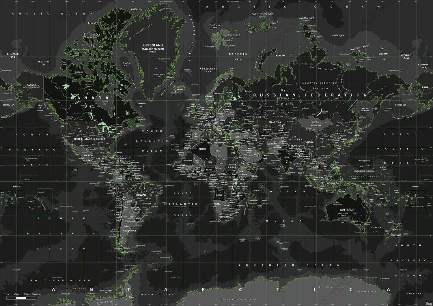 Digital world map toxic green