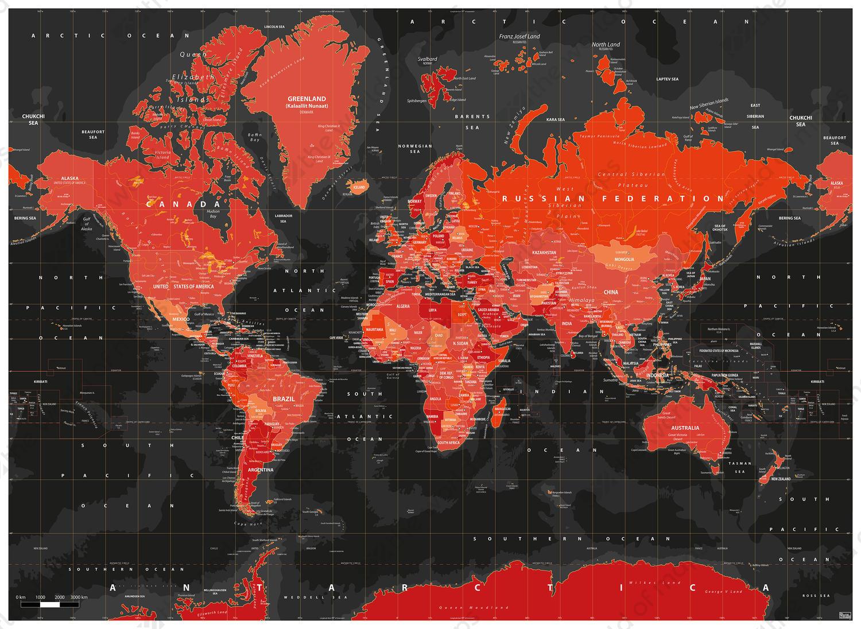 Digital world map volcanic