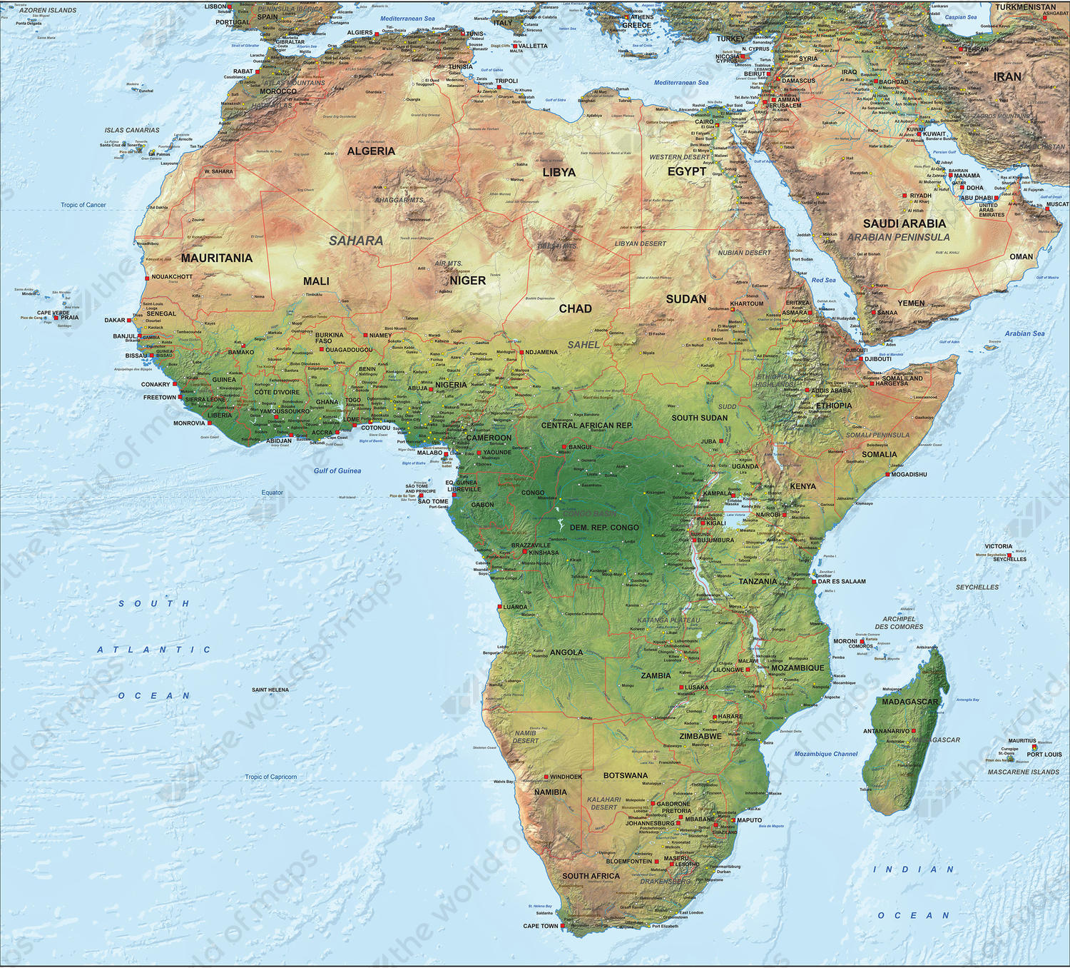Digital Physical Map Africa The World Of Mapscom - Central africa map