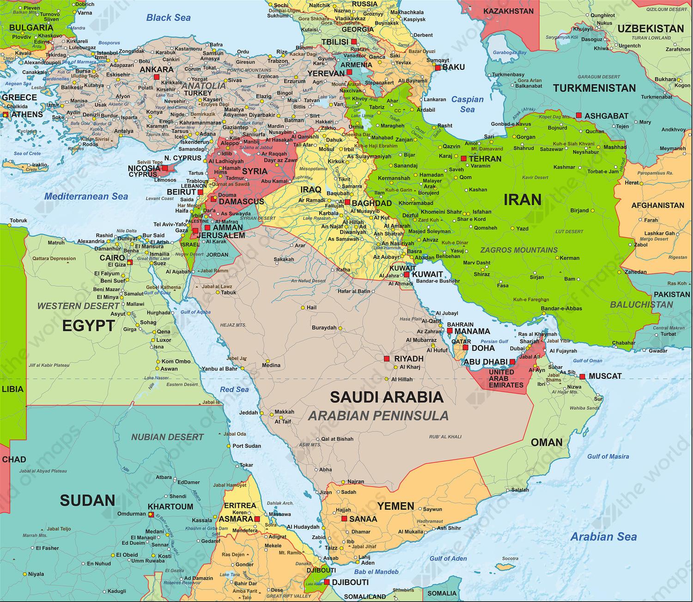 Digital Map Middle East Political 1307 The World of Mapscom