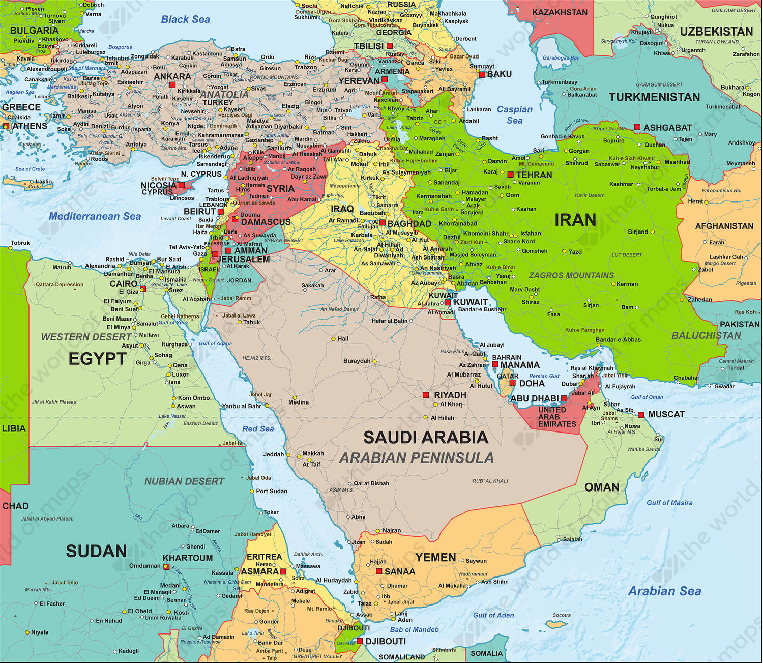 Middle East World Map Digital Map Middle East Political 1307 | The World of Maps.com