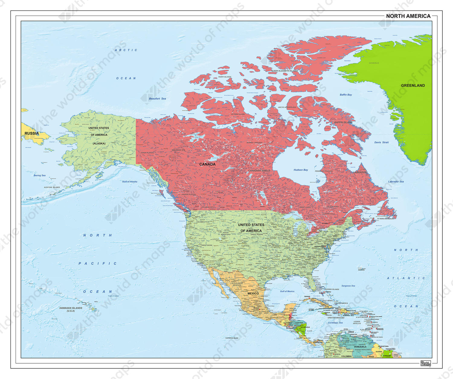 Picture of: Political Digital Map Of North America 1279 The World Of Maps Com