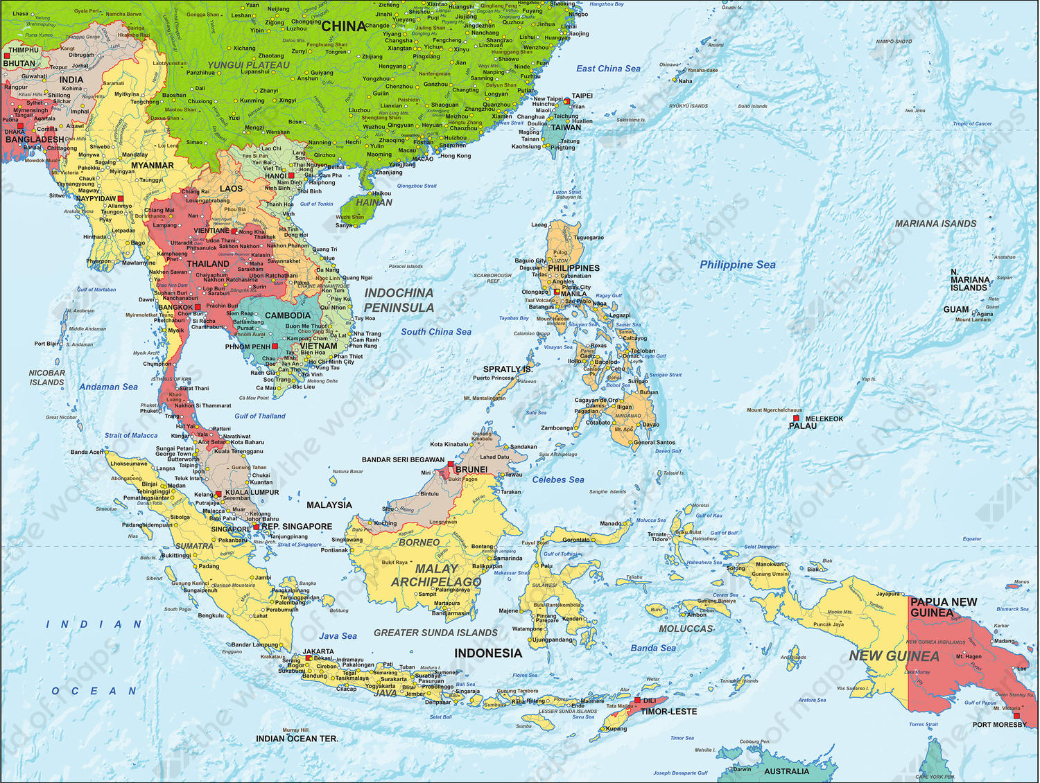 Digital Map South East Asia Political 1305 | The World of ...