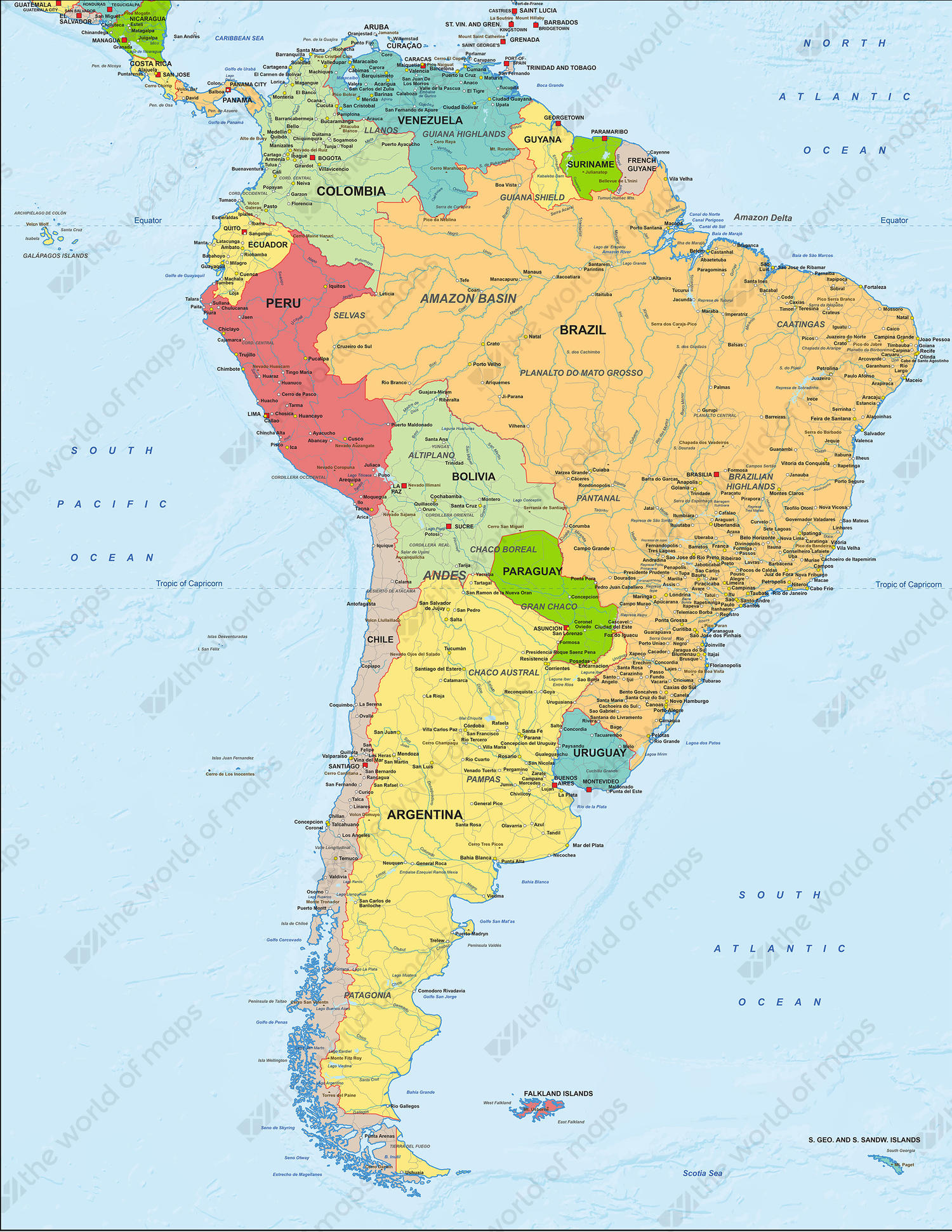 Map Of America Political.Digital Map South America Political 1280 The World Of Maps Com