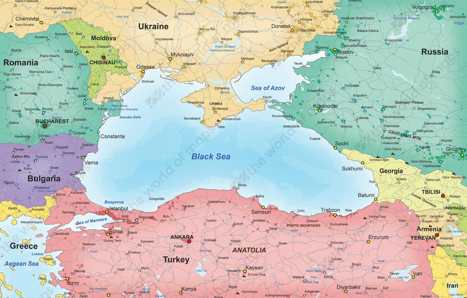 Black Sea Map Digital Map Countries around the Black Sea 838 | The World of Maps.com Black Sea Map