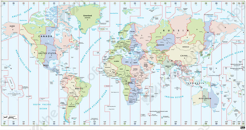 Digital Time Zone World Map in English 261 The World of Mapscom