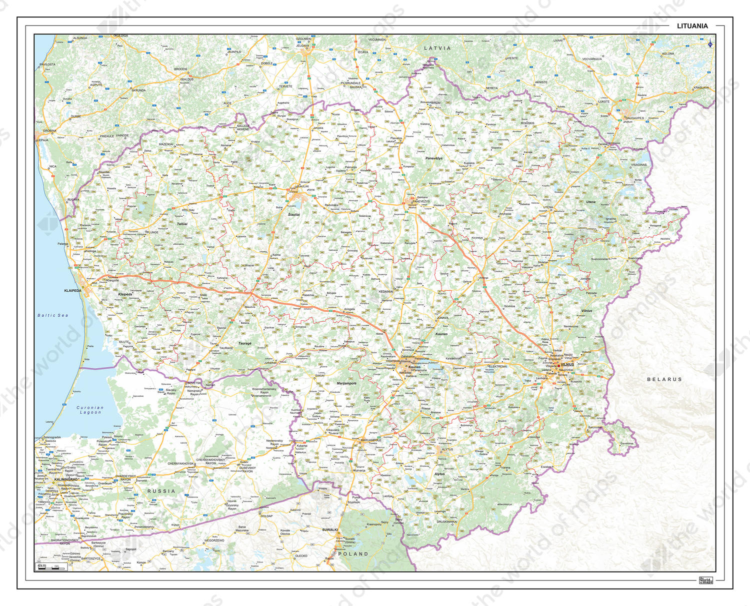 Image of: Digital Roadmap Lithuania 1368 The World Of Maps Com