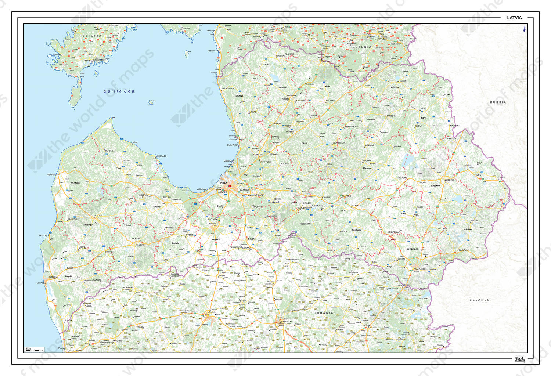 Digital Roadmap Latvia 1367 The World of Mapscom