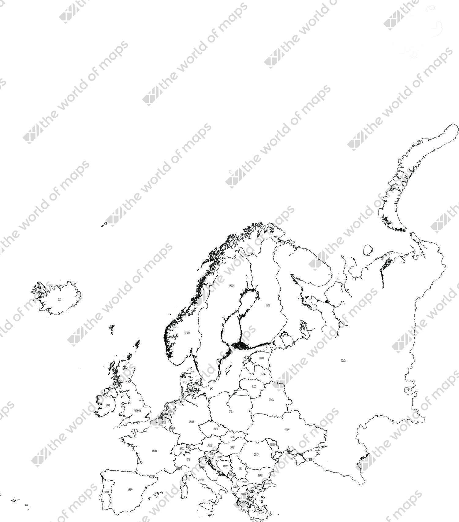 Digital map of Europe (free)