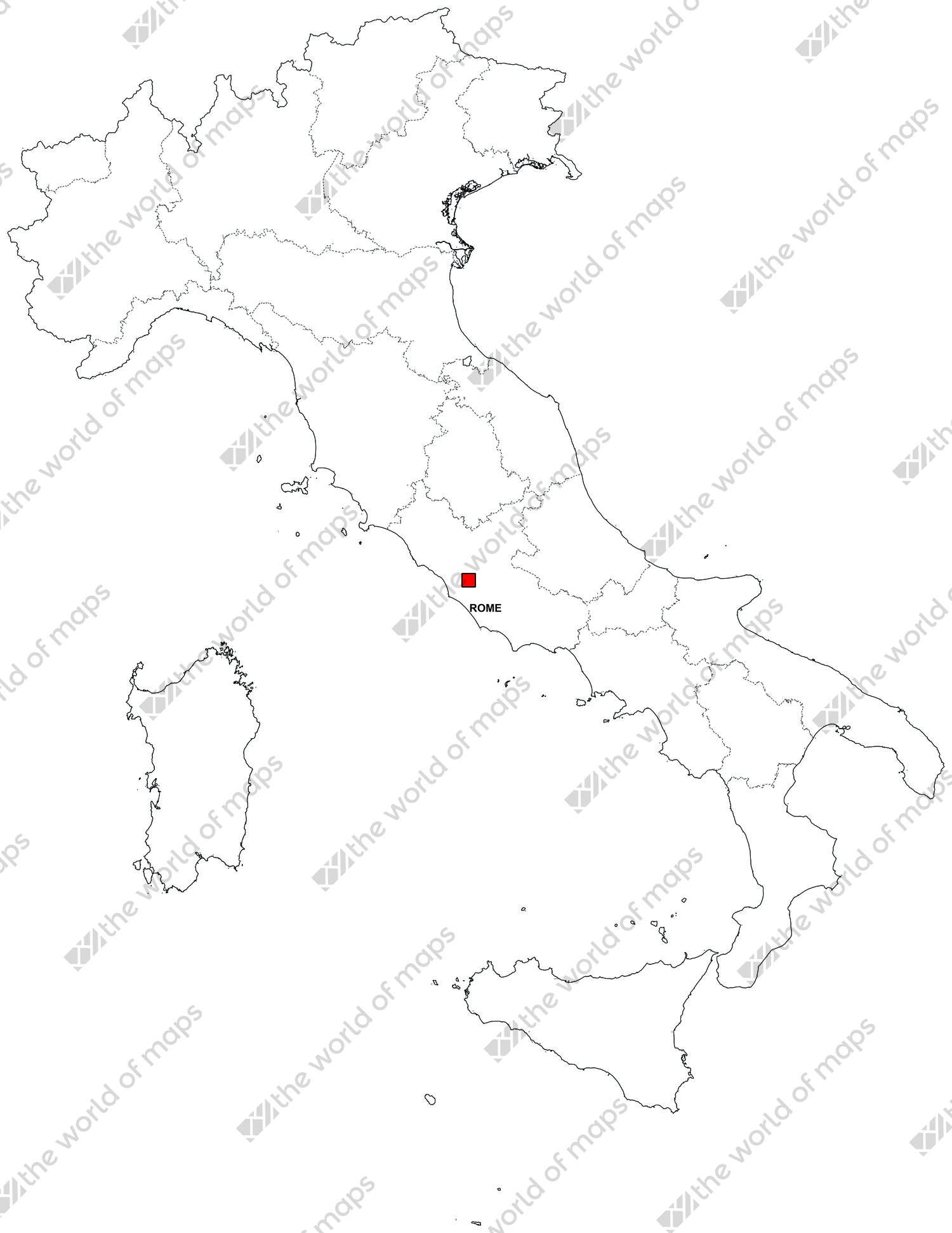 Digital map of Italy (free) | The World of Maps.com