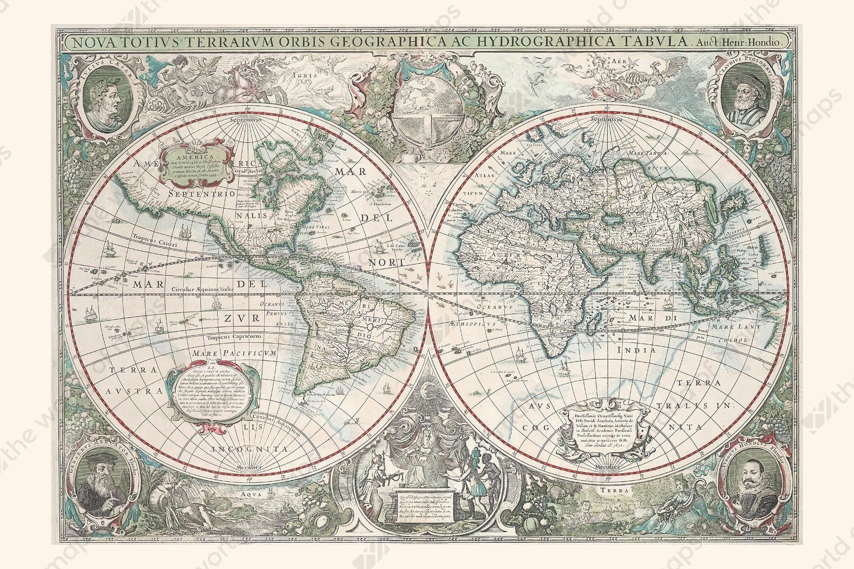 Digital world map year 1630 hondius the world of maps digital world map year 1630 hondius gumiabroncs Gallery