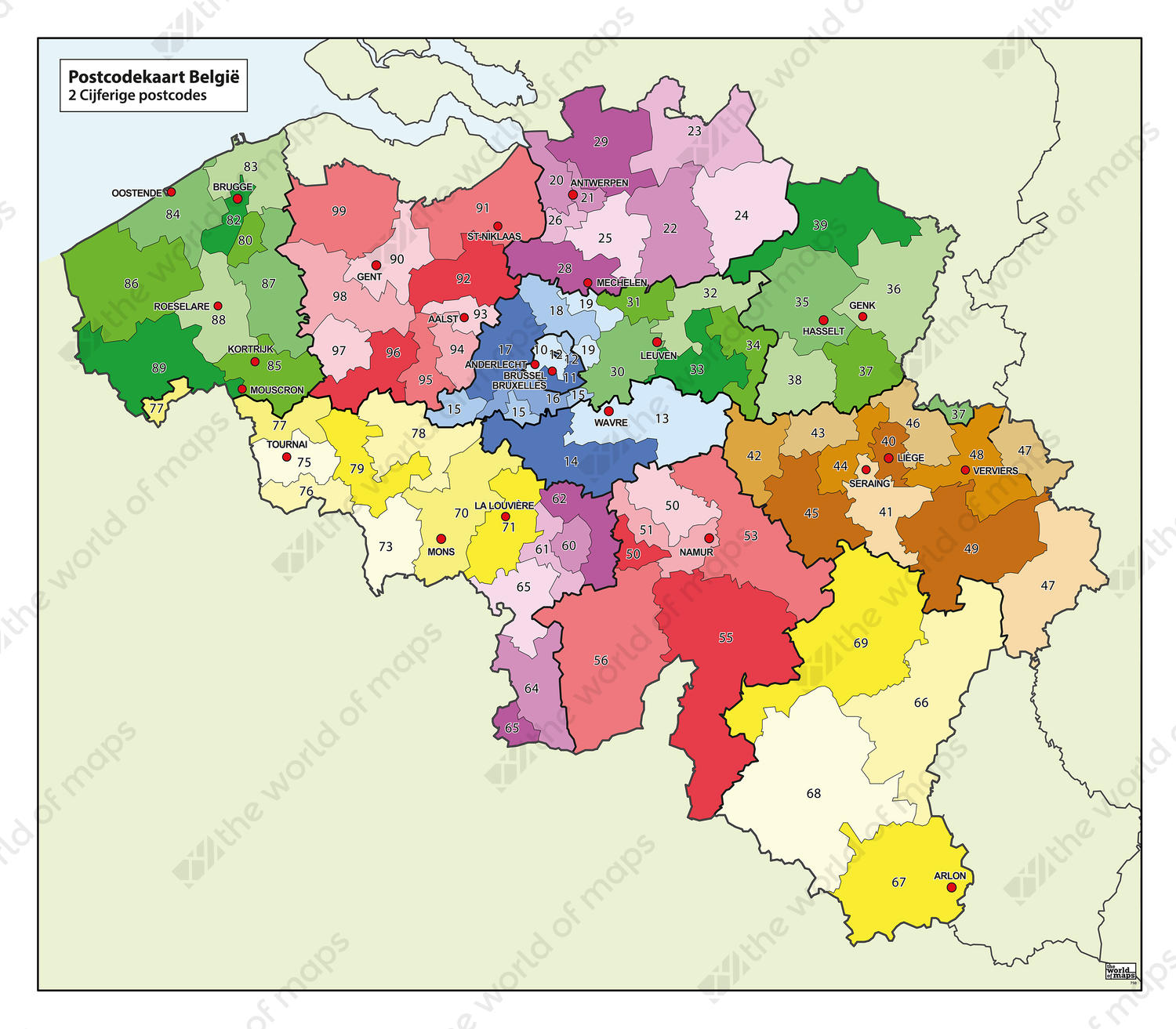 Digital 1 And 2 Digit Postcode Map Belgium 750