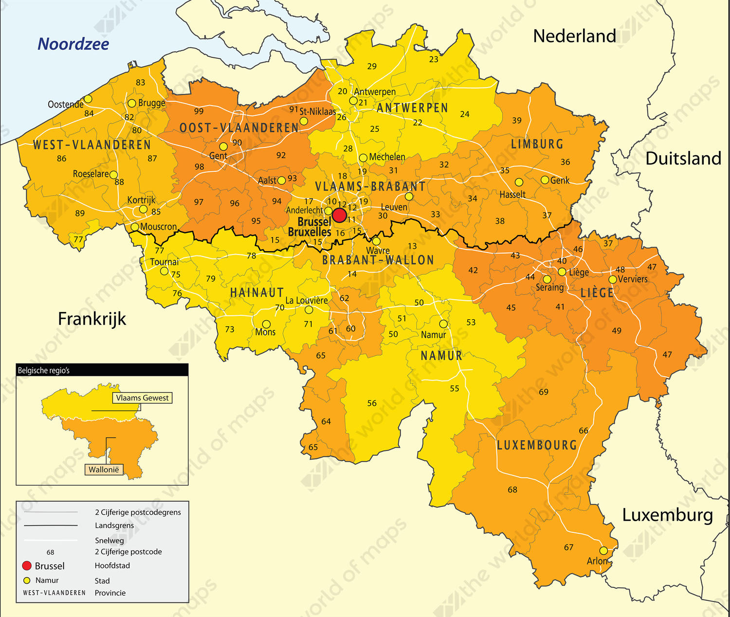 Digital Postcode Map Belgium 2-digit 646 | The World of Maps.com
