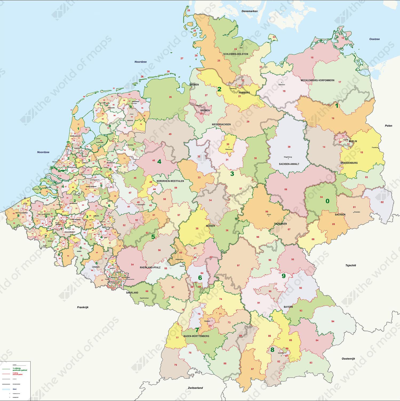 Digital Postal code map Benelux + Germany 1 and 2 digit