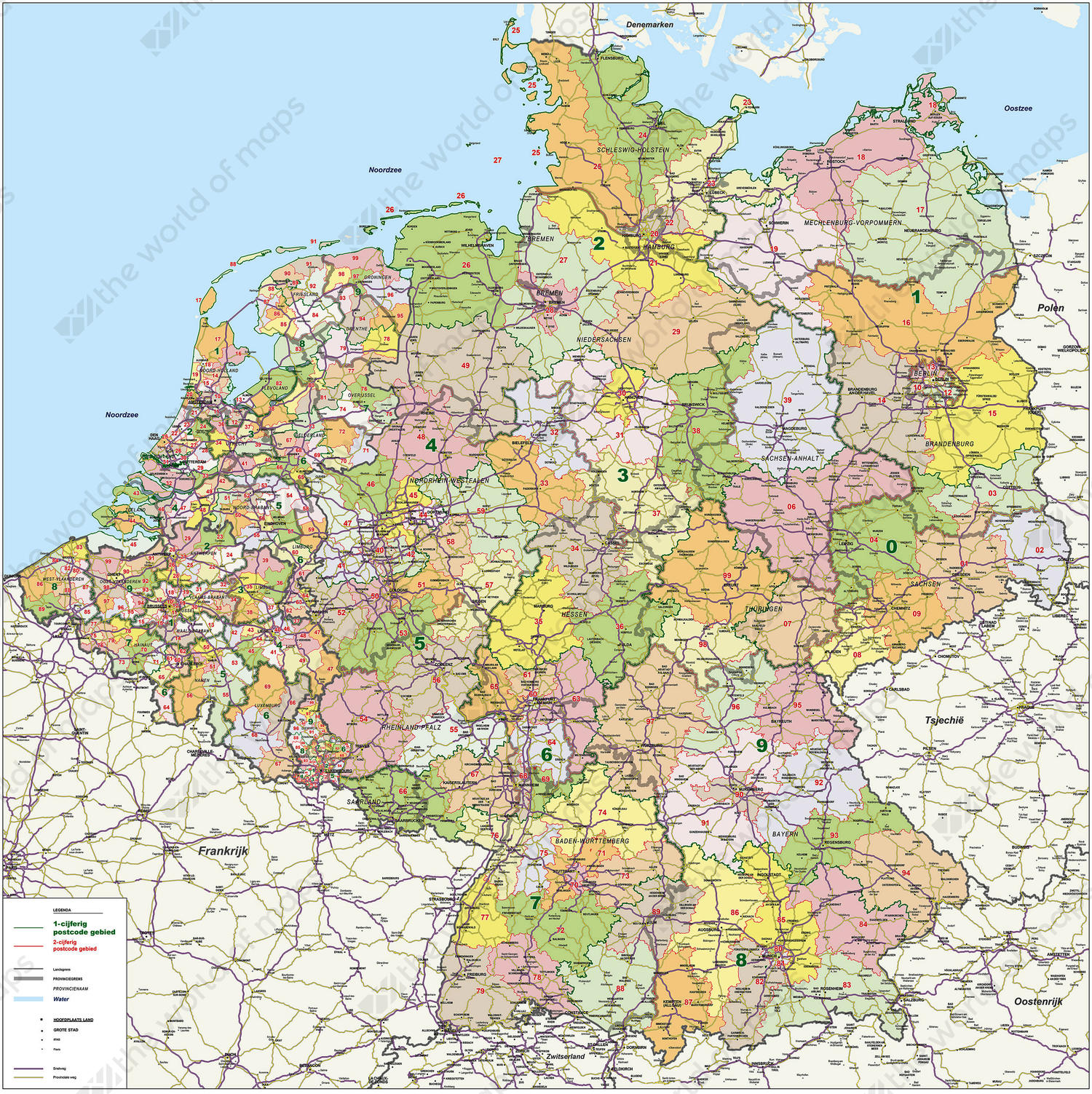Digital postcode map Benelux + Germany 1- and 2-digit with roads