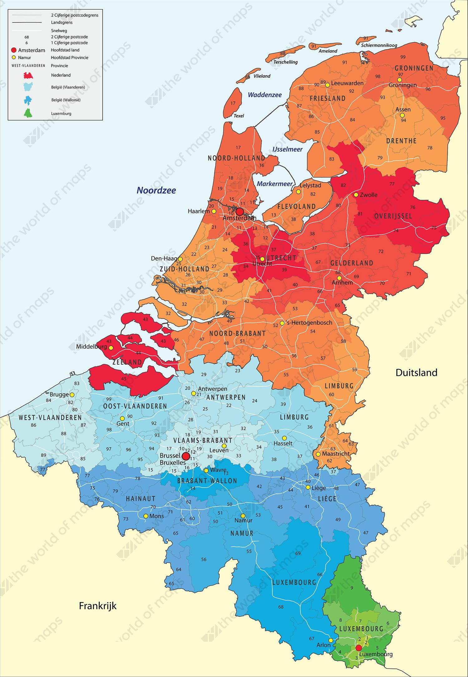 Digital ZIP code map Benelux 2-digit