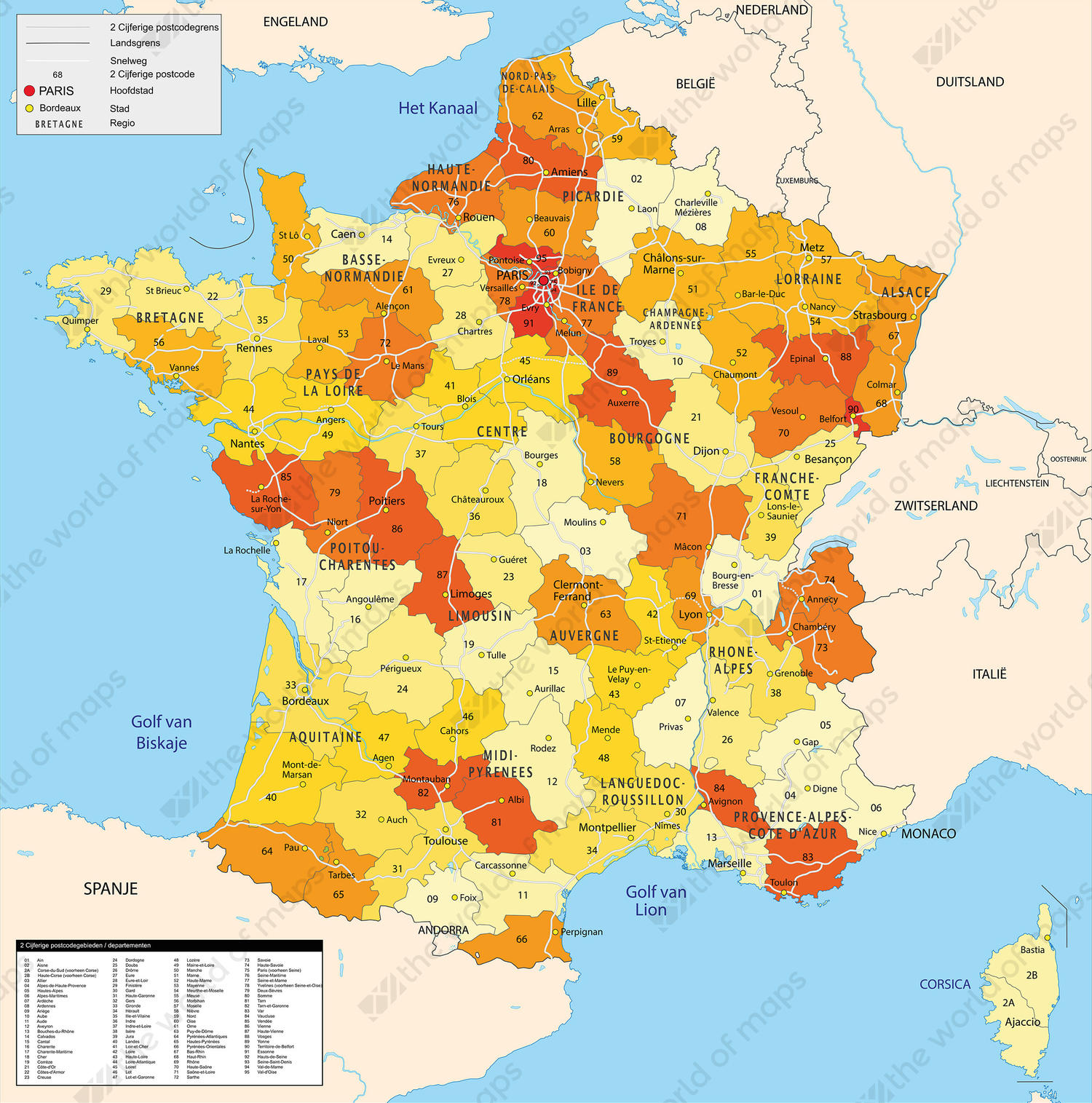 France Map Of The World.Digital 2 Digit Postcode Map France 813 The World Of Maps Com