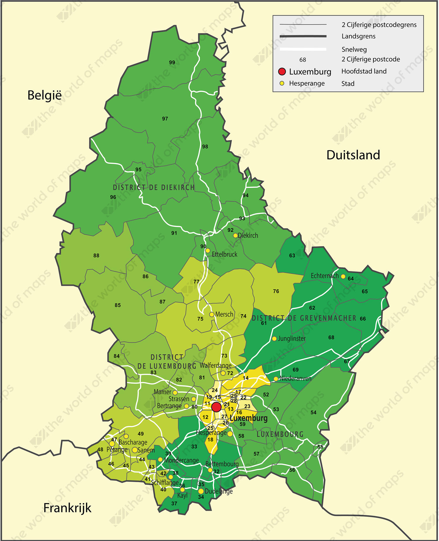 Digital ZIP Code Map Luxembourg 1319 The World of Mapscom