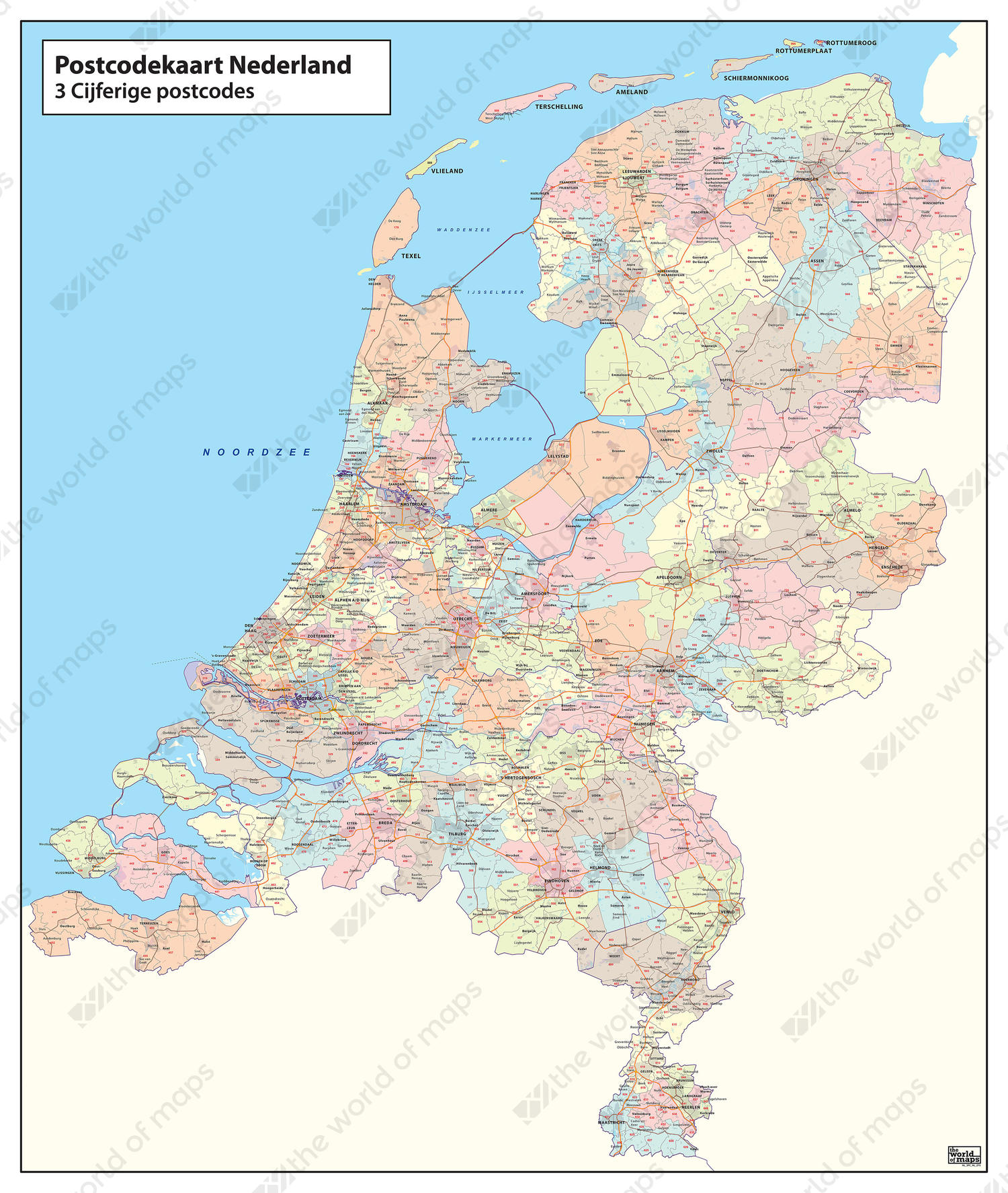 Digital 3digit Postcode Map of The Netherlands 273  The World of