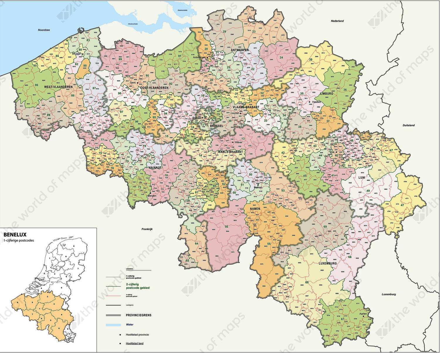 Digital Postcode Map Belgium 2-4 digits 1389 | The World of Maps.com