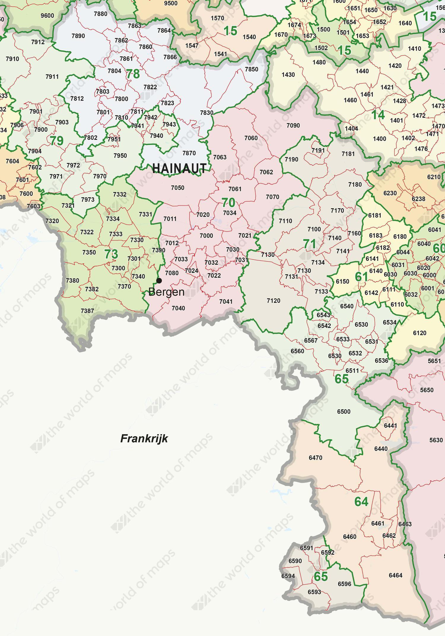 Digital ZIP code map Belgium 2-4 digits