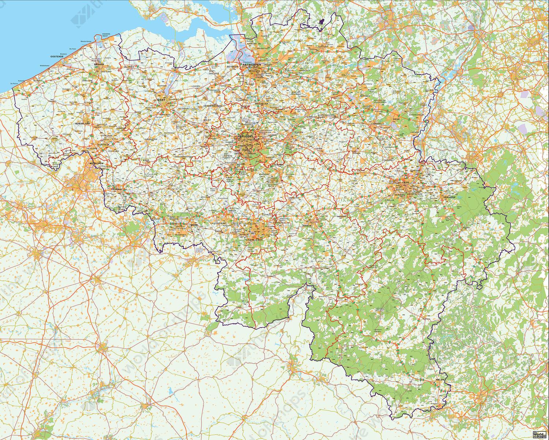 Digital 4-digit postcode map Belgium
