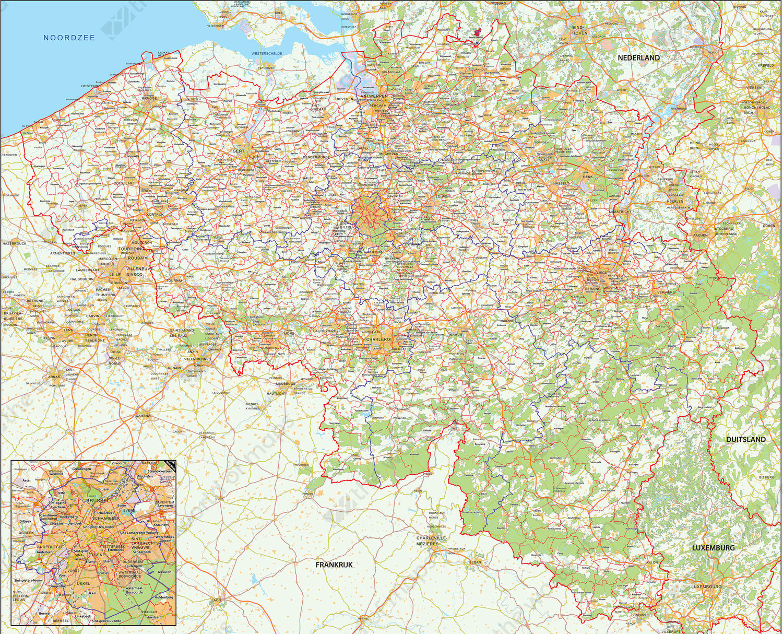 Digital municipal map Belgium detailed