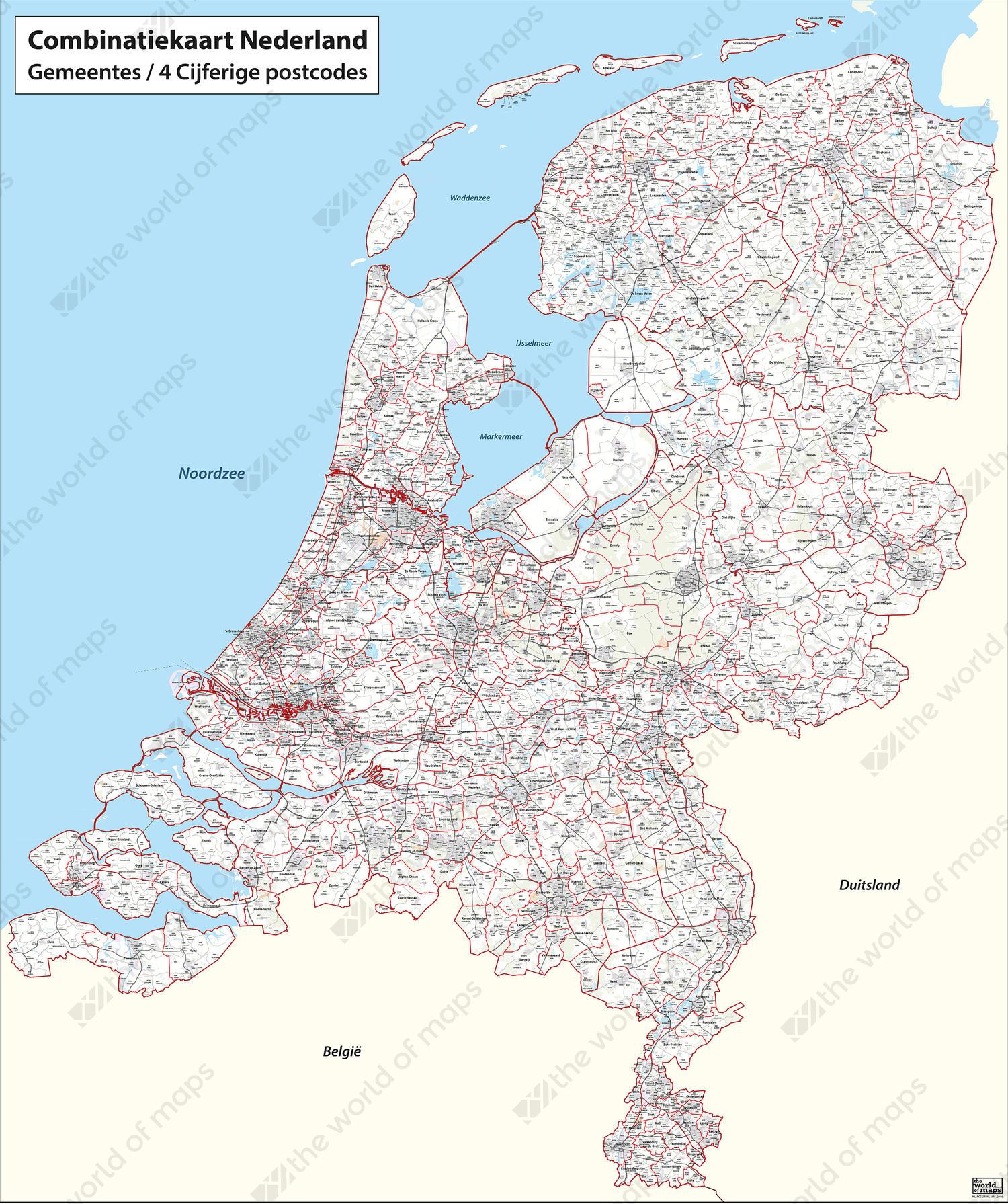Digital postcode-/municipality map of the Netherlands