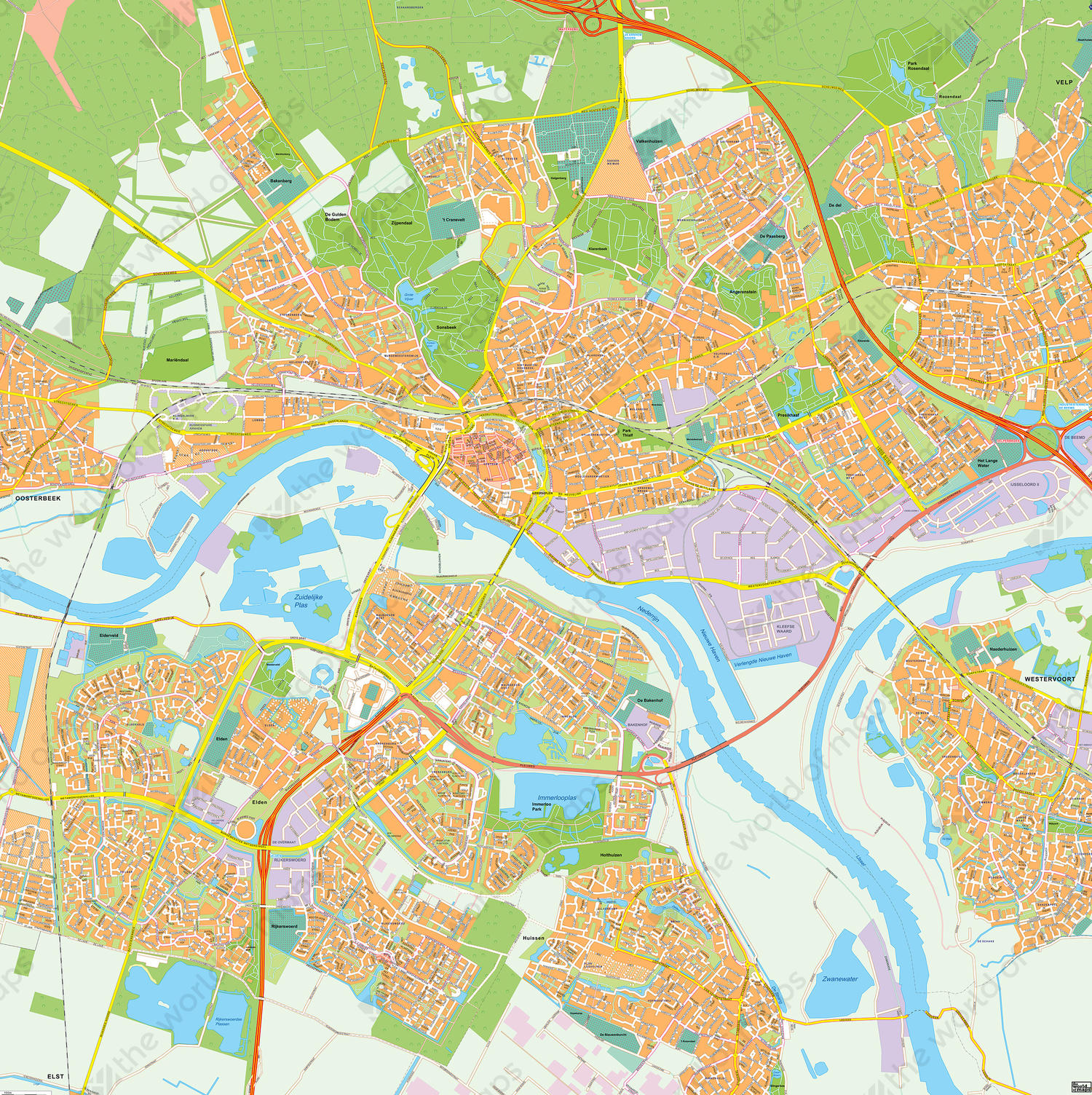 Digital City Map Arnhem 392 The World of Mapscom