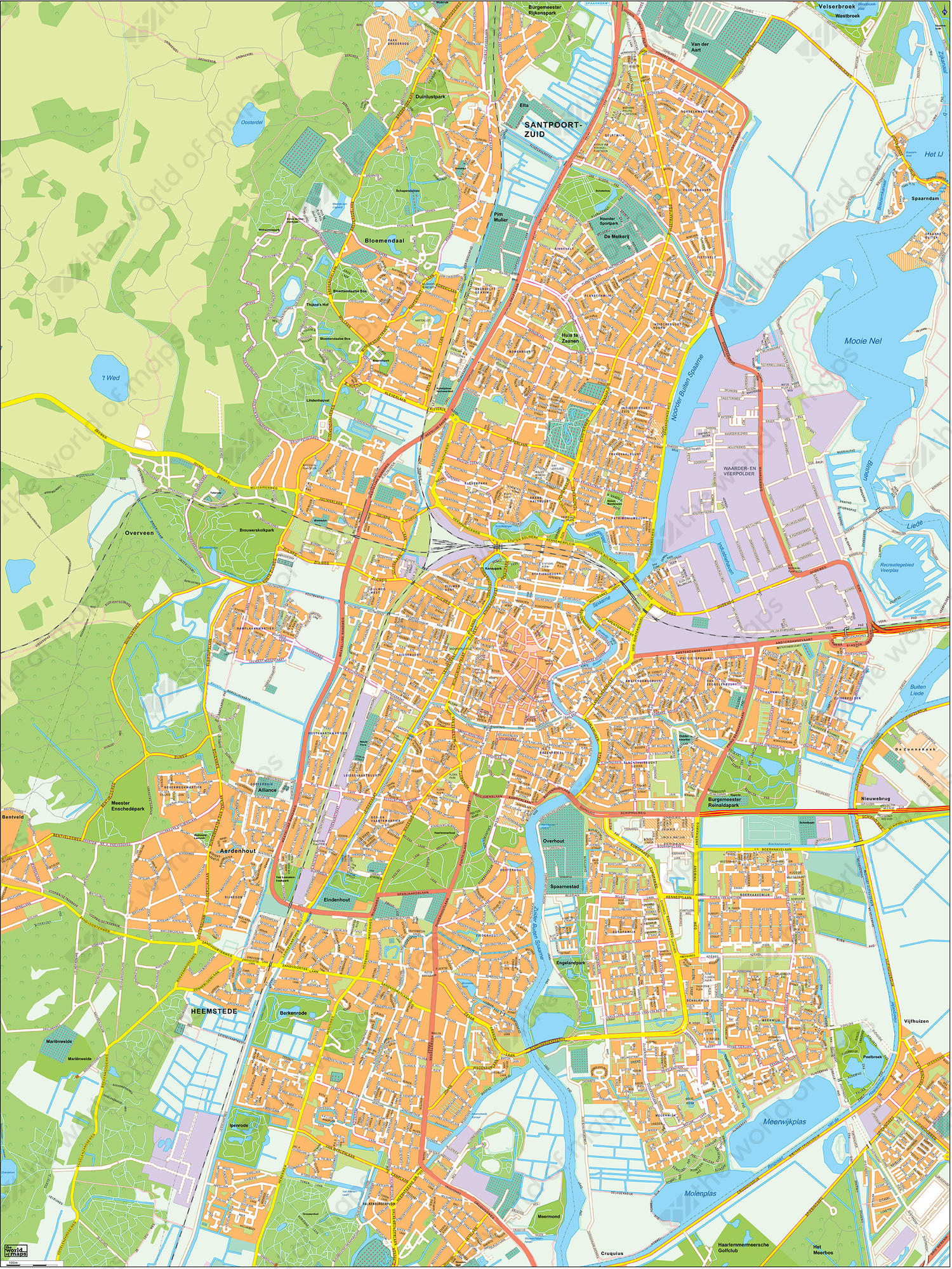 Digital City Map Haarlem 398 | The World of Maps.com