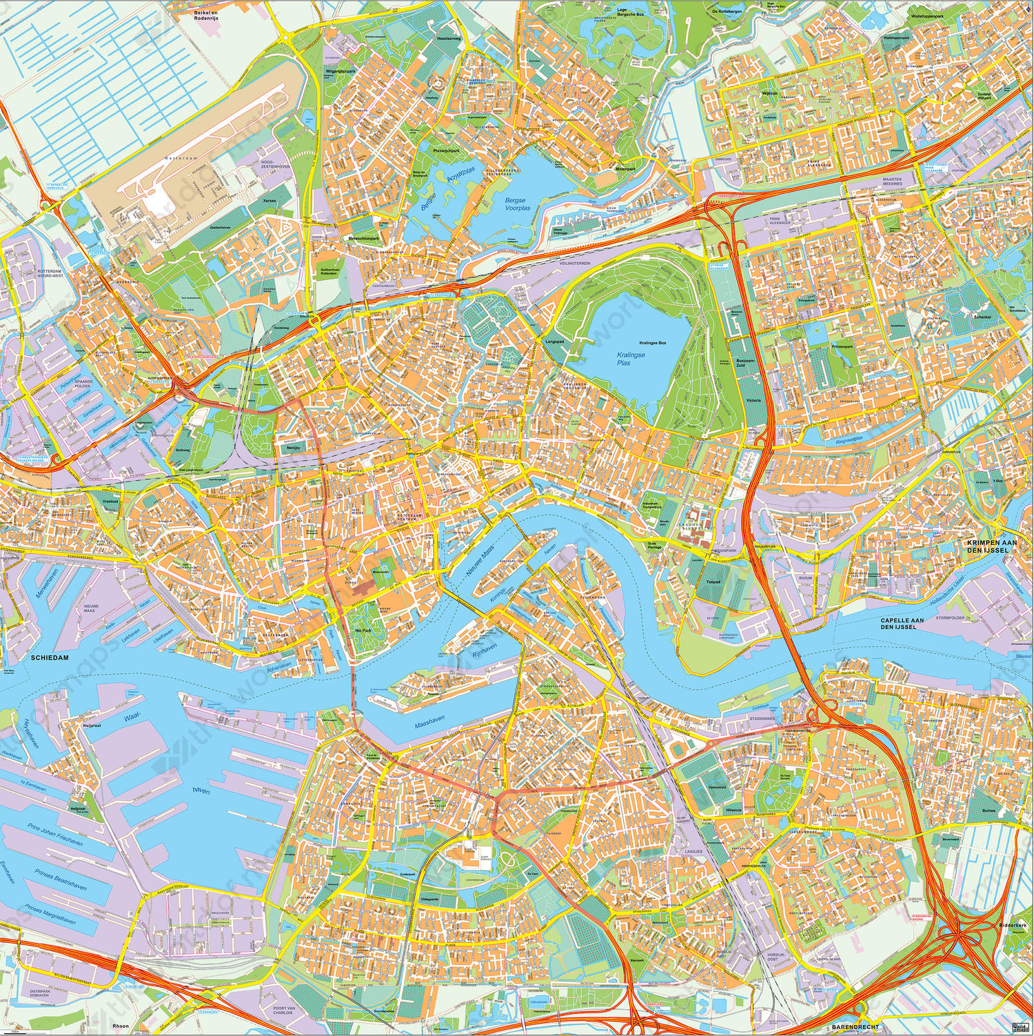 Digital City Map Rotterdam 404 | The World of Maps.com