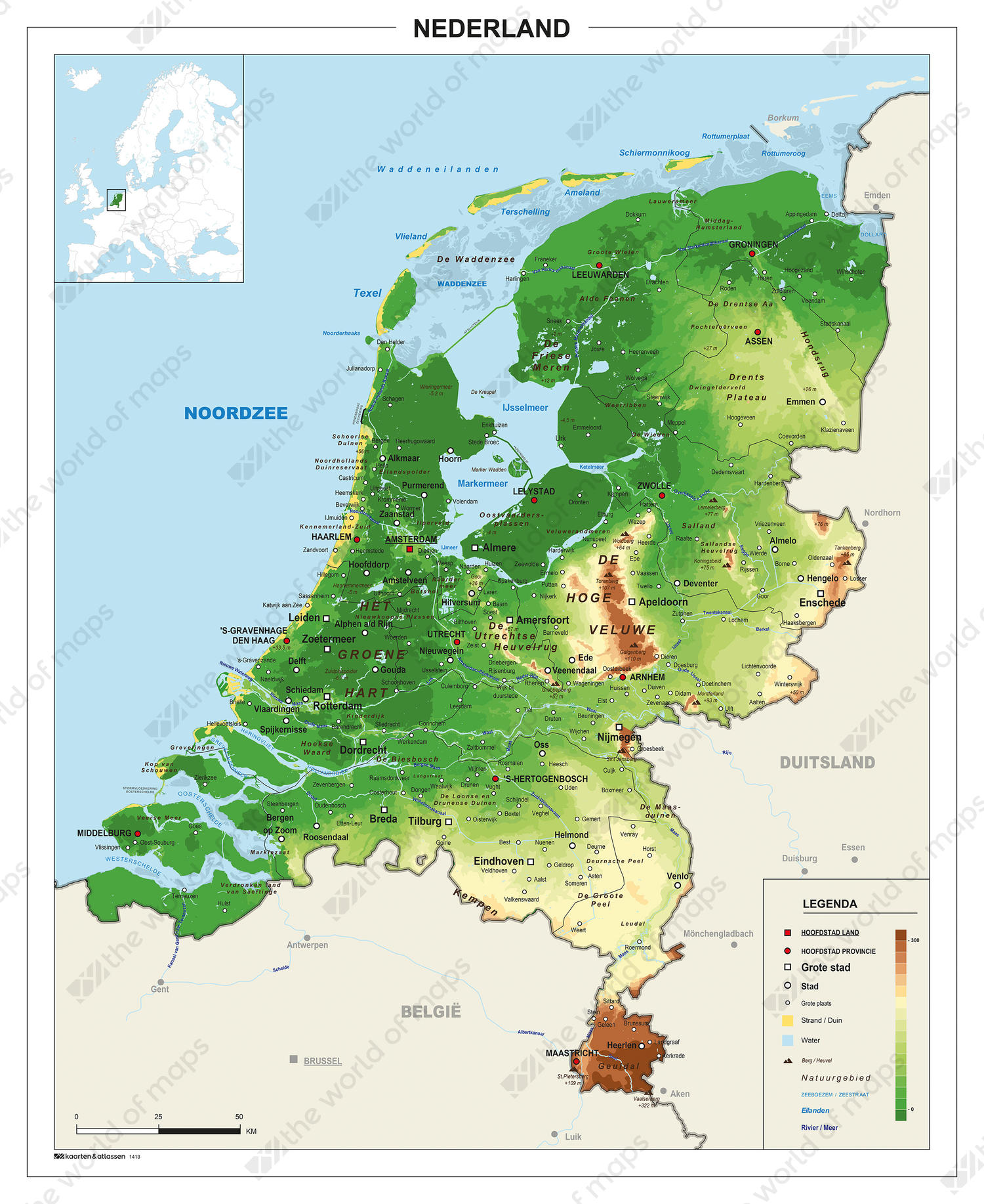 Picture of: Physical Digital Basic Map The Netherlands 1413 The World Of Maps Com