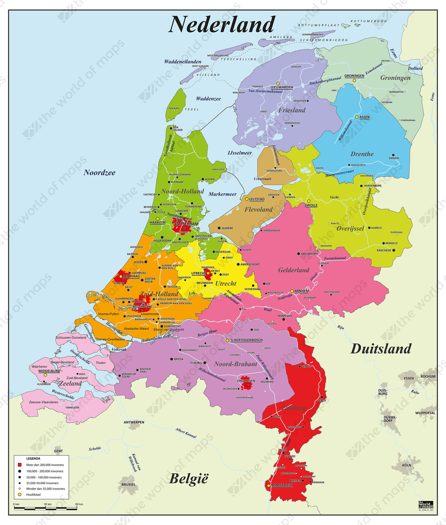 Digital Basic County Map Of The Netherlands 503 The World of Mapscom