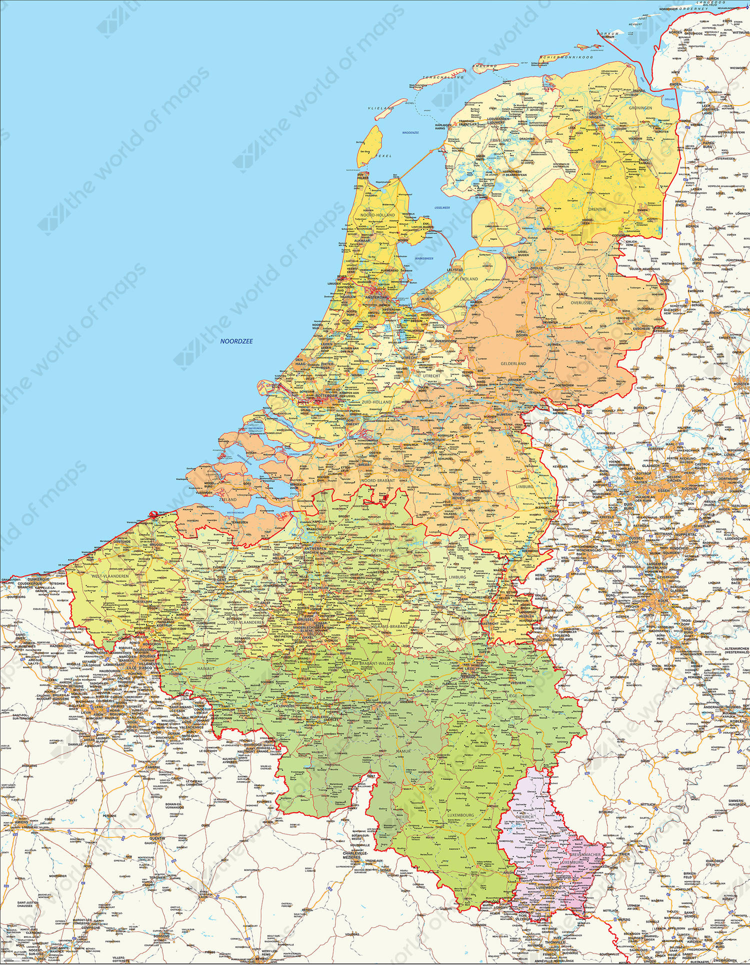 Detailed Digital Map Benelux 336 | The World of Maps.com on