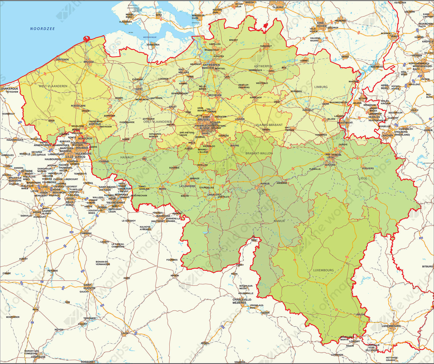 Digital map belgium political 346 the world of maps digital map belgium political gumiabroncs Choice Image