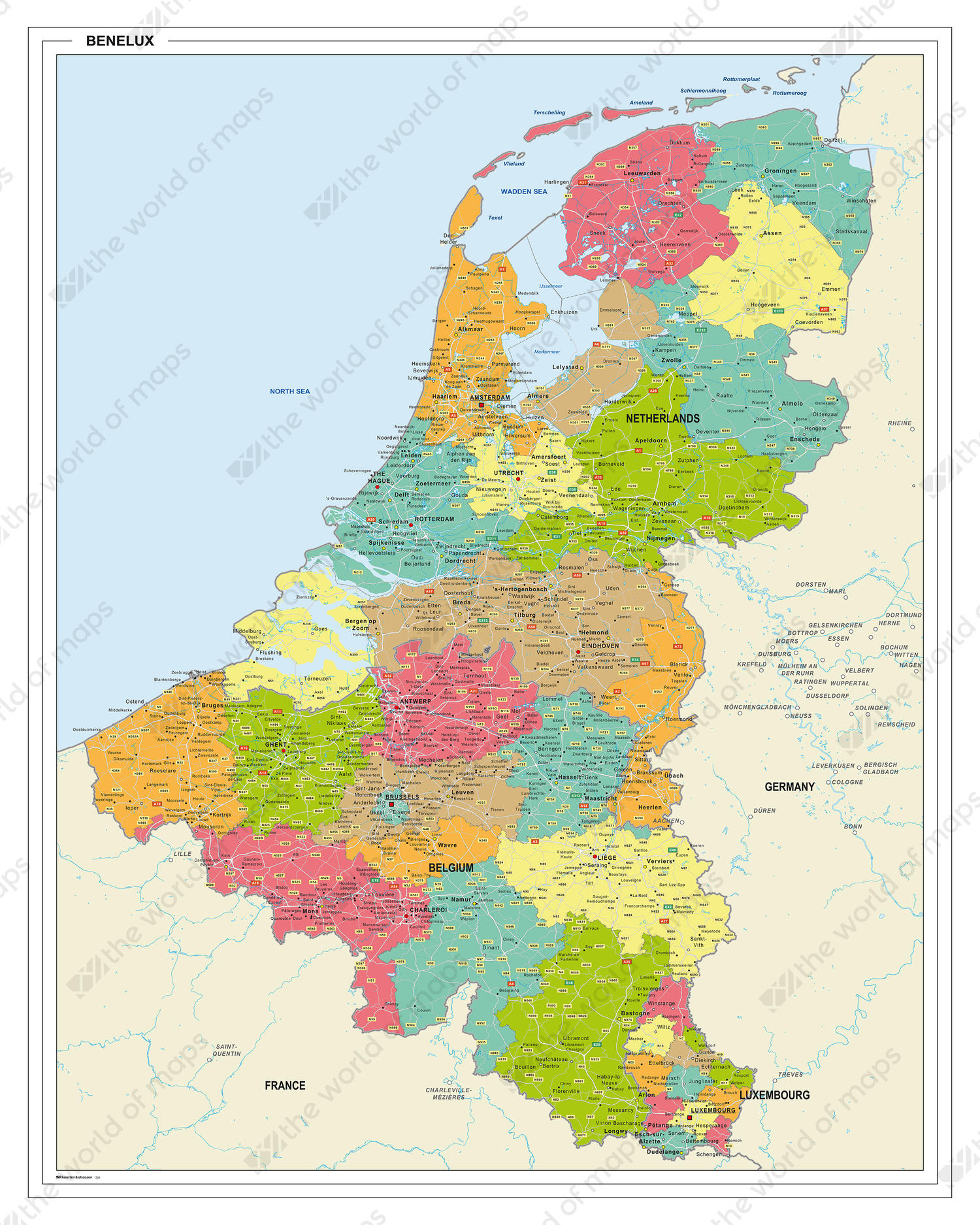 Digital colorful map Benelux
