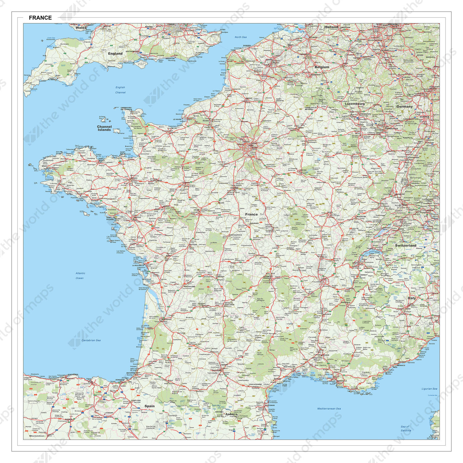 Map Of France In English.Digital Roadmap France 1415 The World Of Maps Com